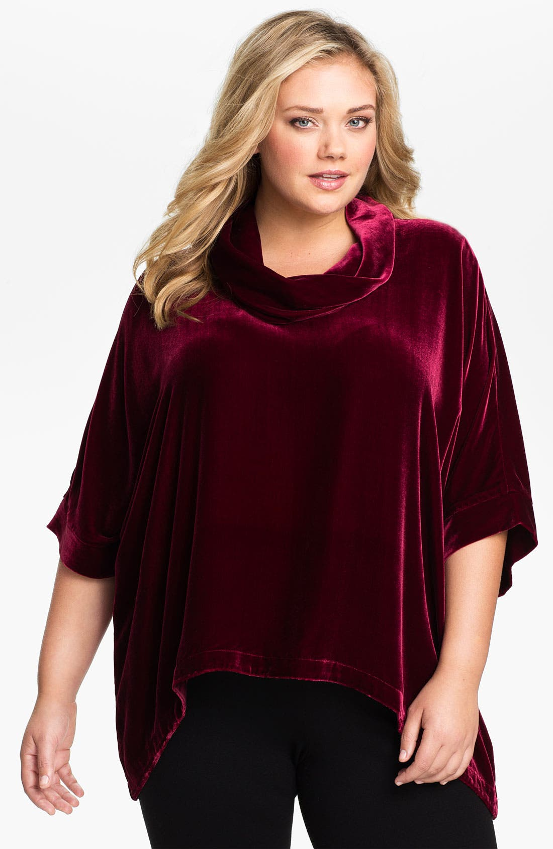 Main Image - Eileen Fisher Cowl Neck Top (Plus)