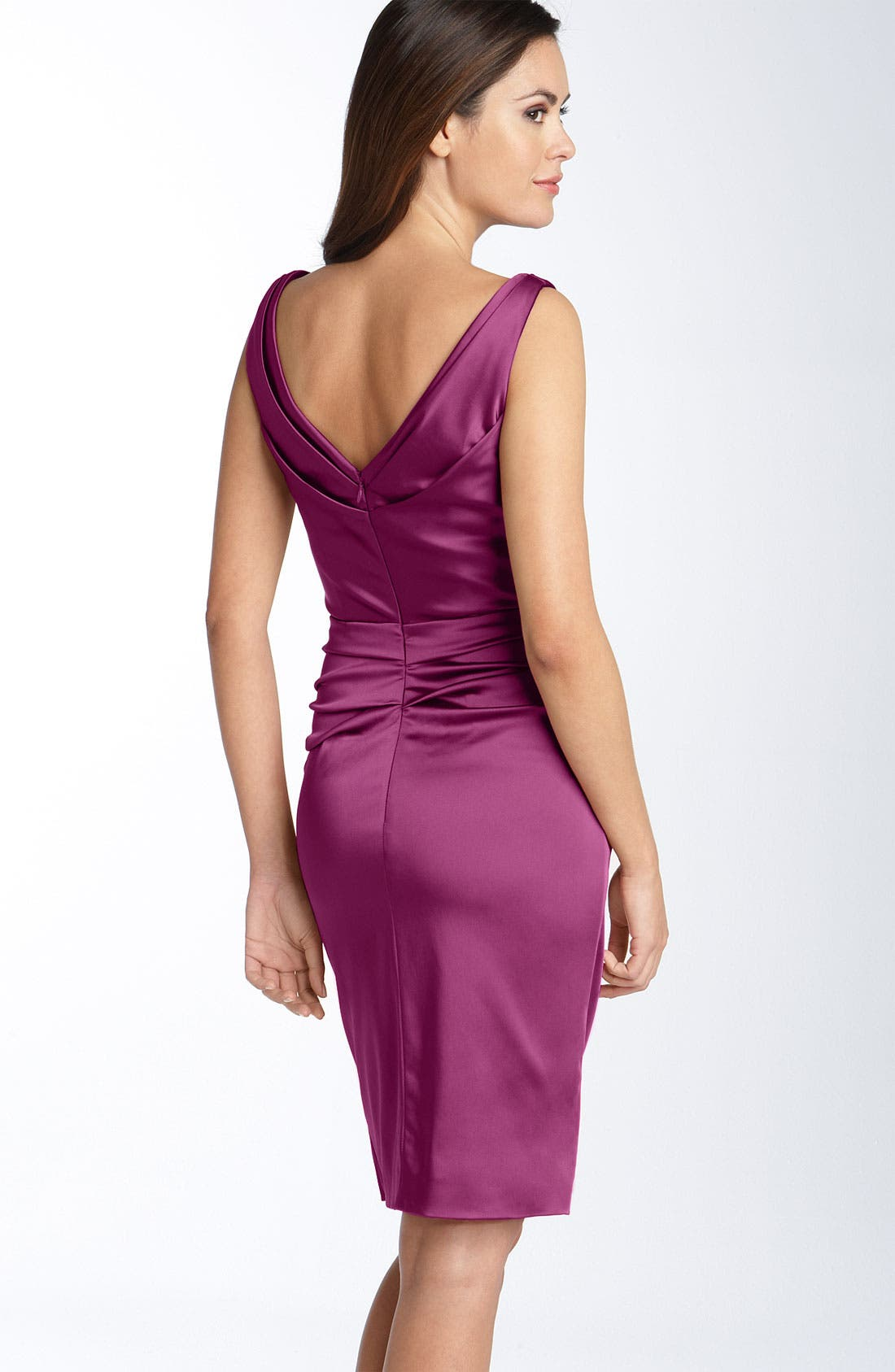 Alternate Image 2  - Ivy & Blu Ruched Stretch Satin Sheath Dress