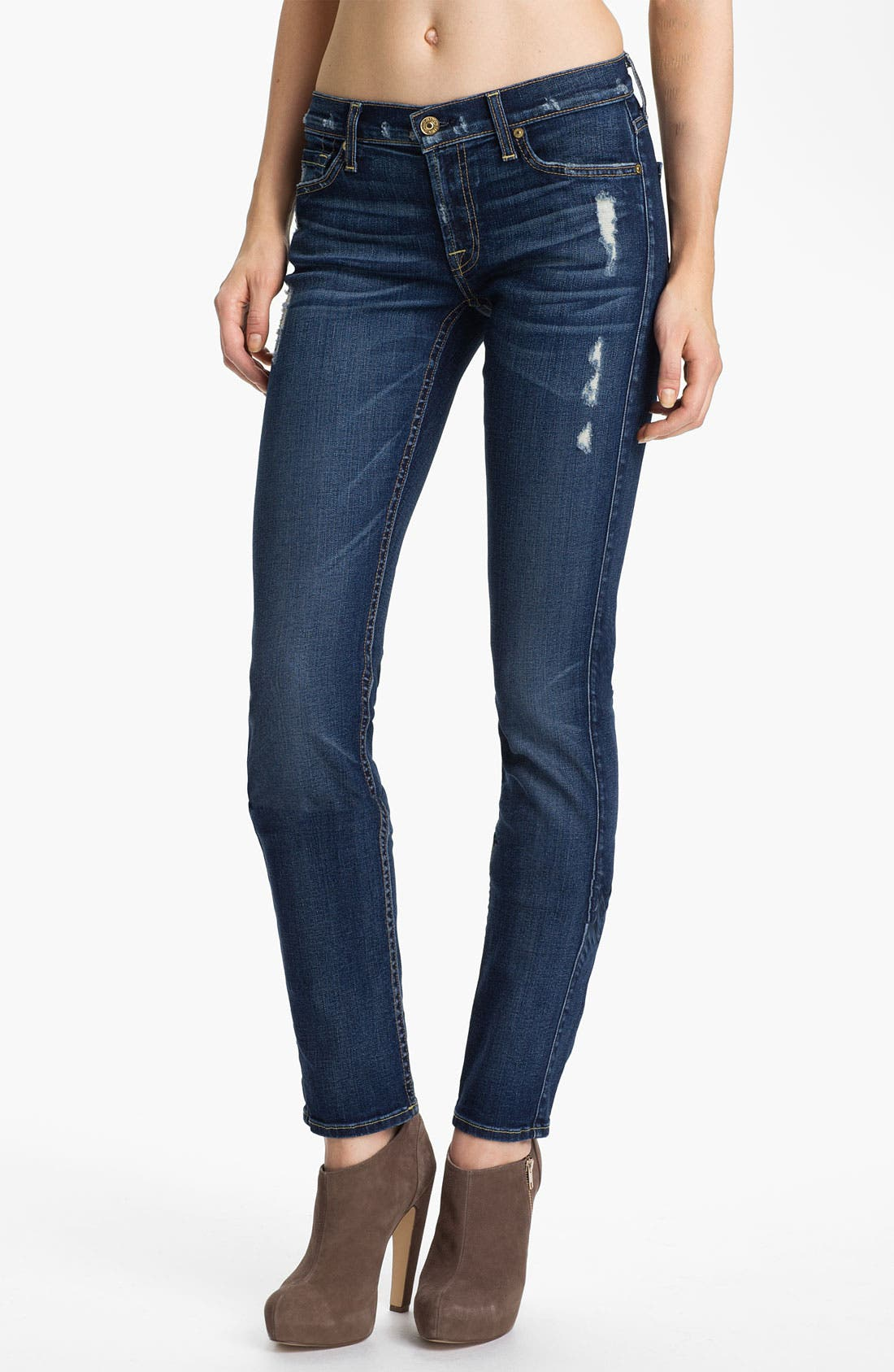 Alternate Image 1 Selected - 7 For All Mankind® 'Roxanne' Skinny Jeans (Distressed Starry Night)