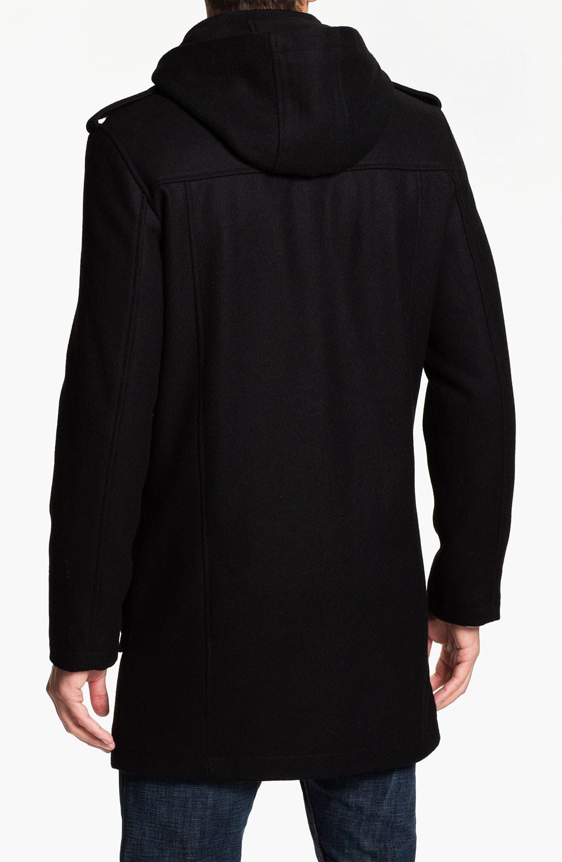 Alternate Image 2  - Black Rivet Wool Blend Trench Coat