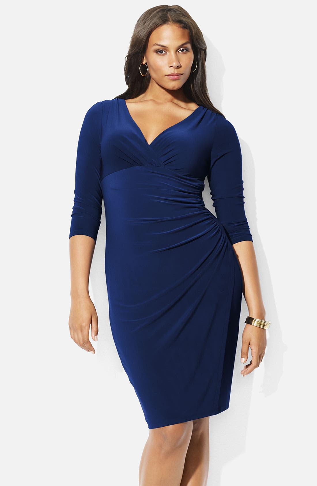 Alternate Image 1 Selected - Lauren Ralph Lauren Surplice Matte Jersey Dress (Plus)
