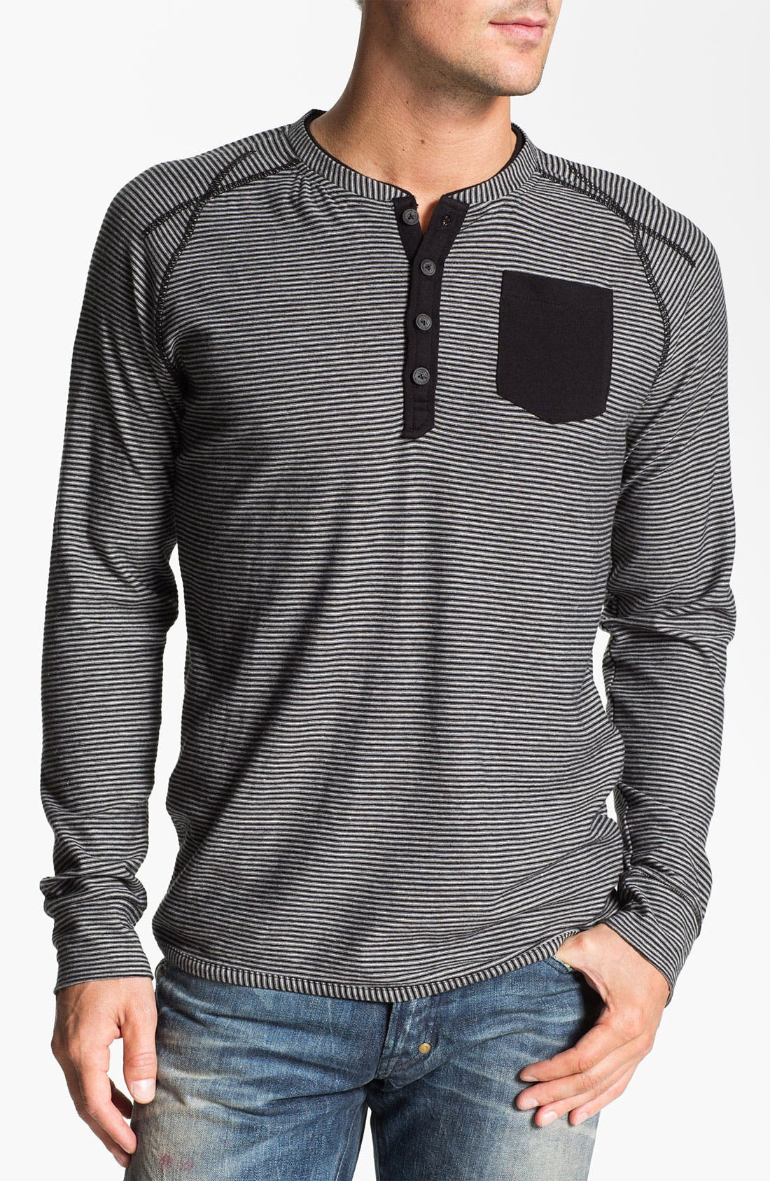 Alternate Image 1 Selected - J.C. Rags Stripe Raglan Sleeve Henley