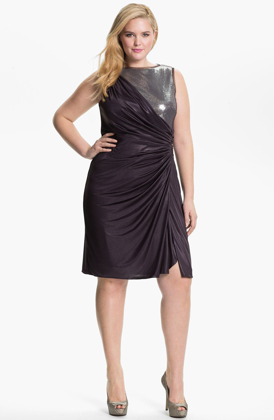 Alternate Image 1 Selected - Adrianna Papell Sequined Jersey Drape Dress (Plus)