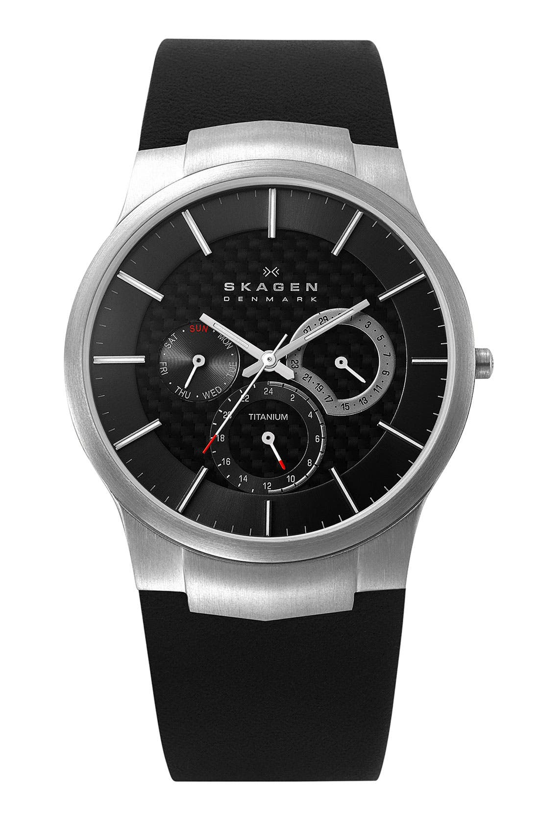 Alternate Image 1 Selected - Skagen Multifunction Leather Strap Watch