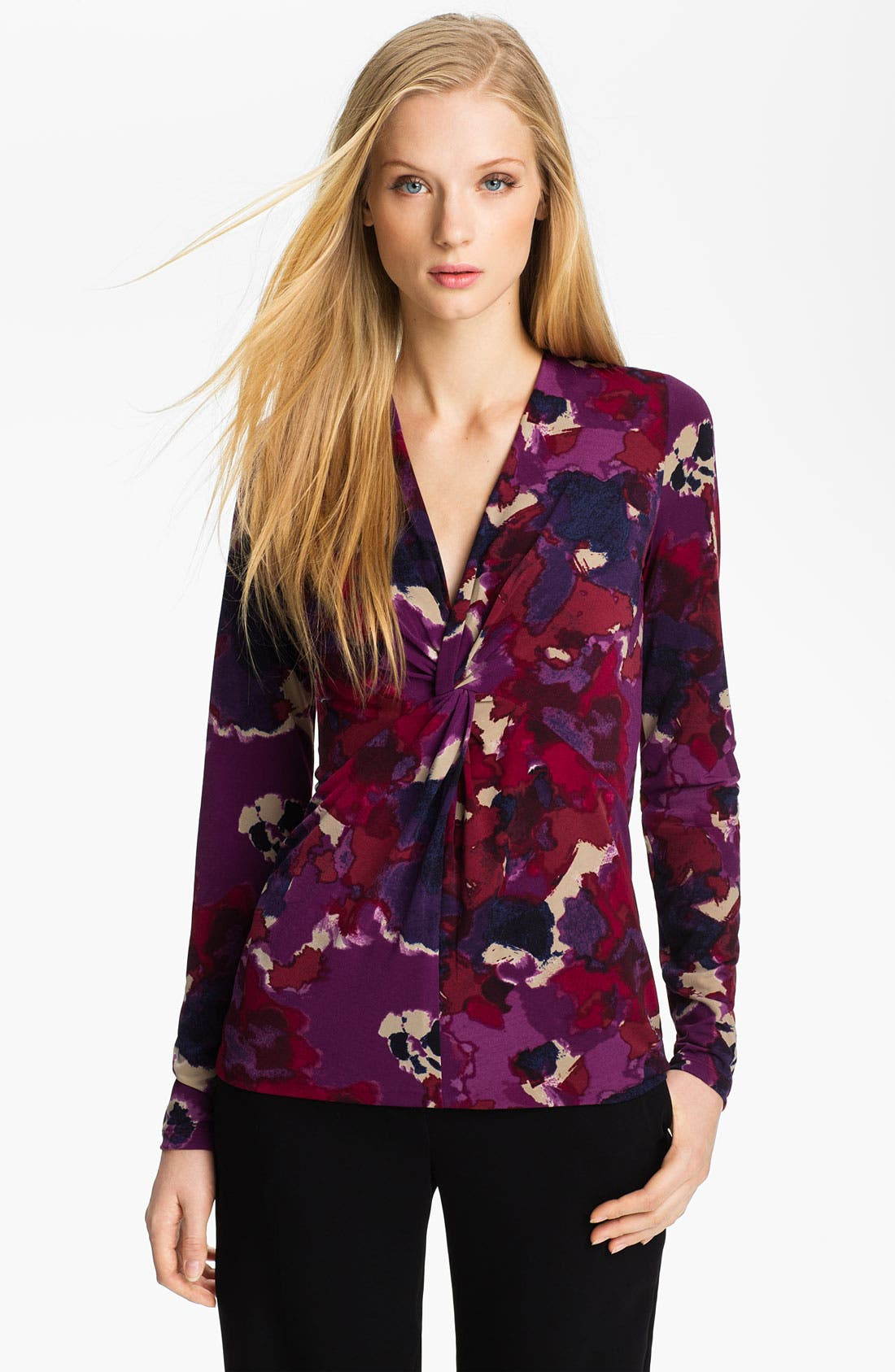 Main Image - Anne Klein V-Neck Floral Print Top (Petite)