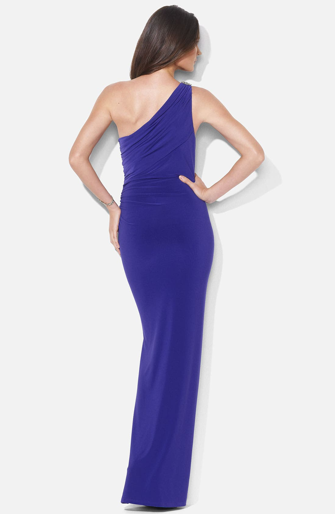 Alternate Image 2  - Lauren Ralph Lauren One Shoulder Matte Jersey Gown