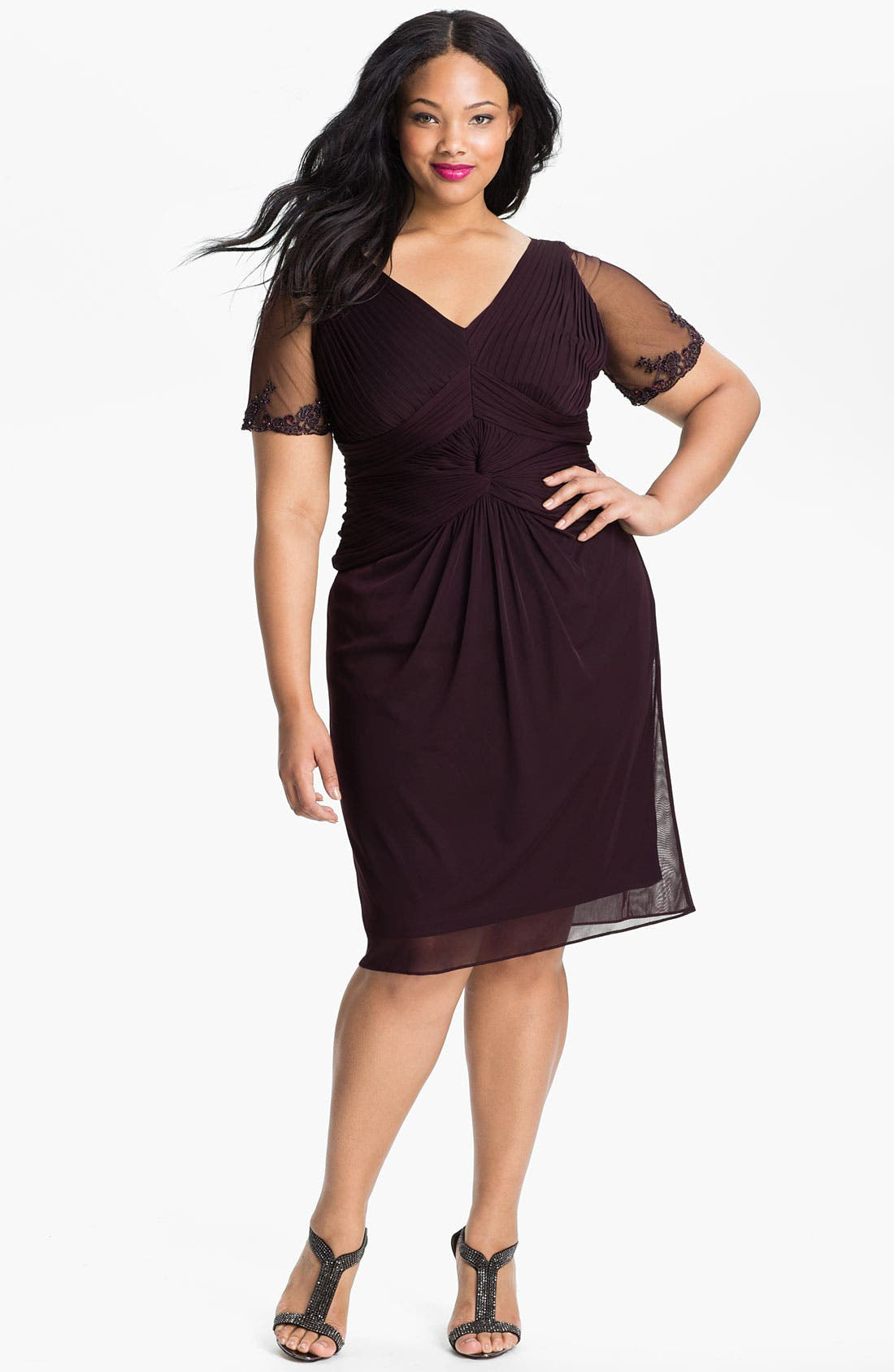 Main Image - Adrianna Papell Beaded Mesh Sheath Dress (Plus)