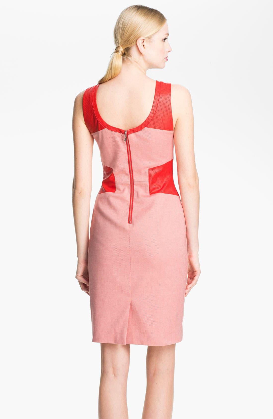 Alternate Image 2  - Rachel Roy Twill & Leather Sheath Dress
