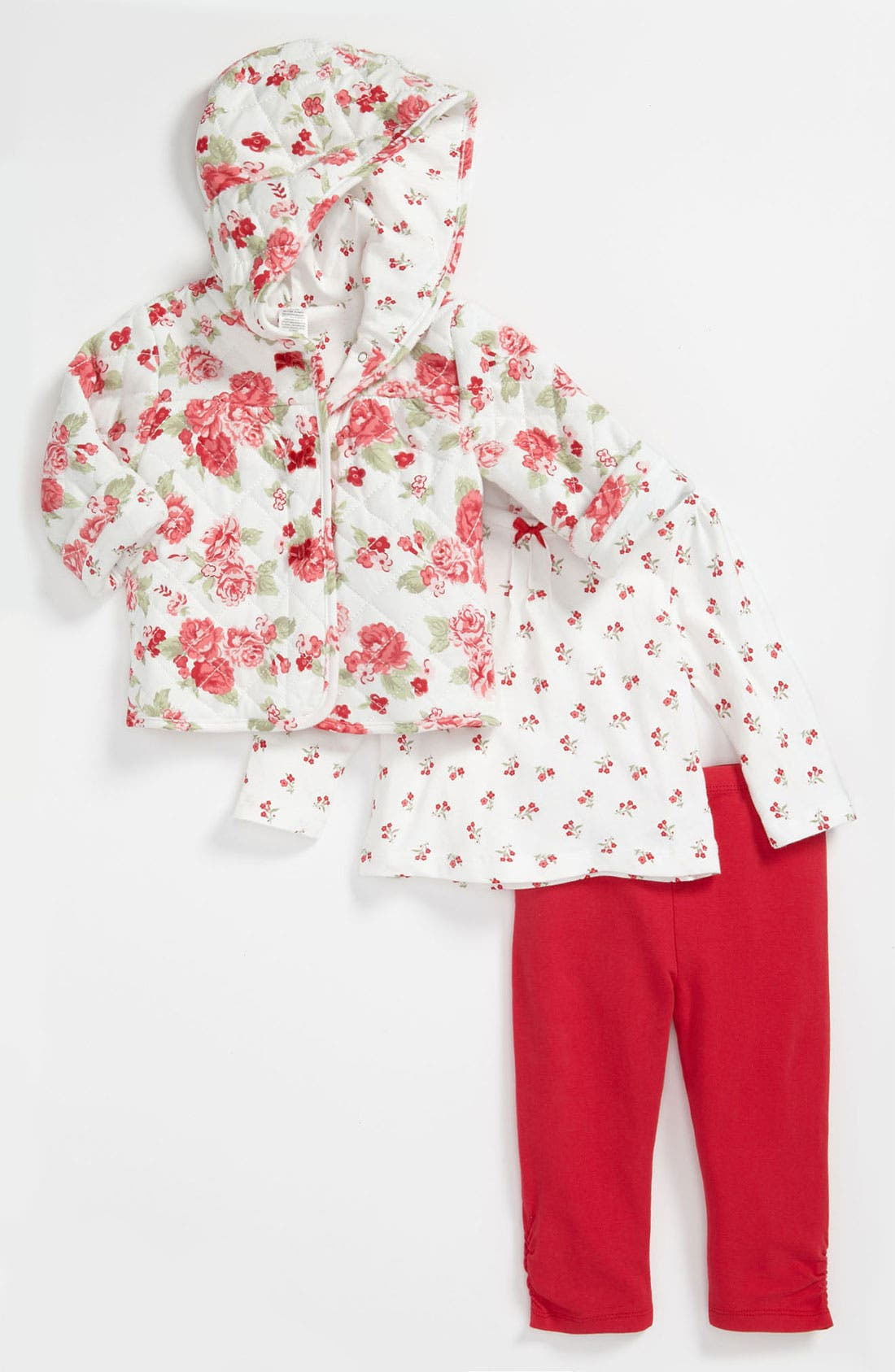 Main Image - Little Me 'Barberry Roses' Top, Pants & Jacket (Infant)