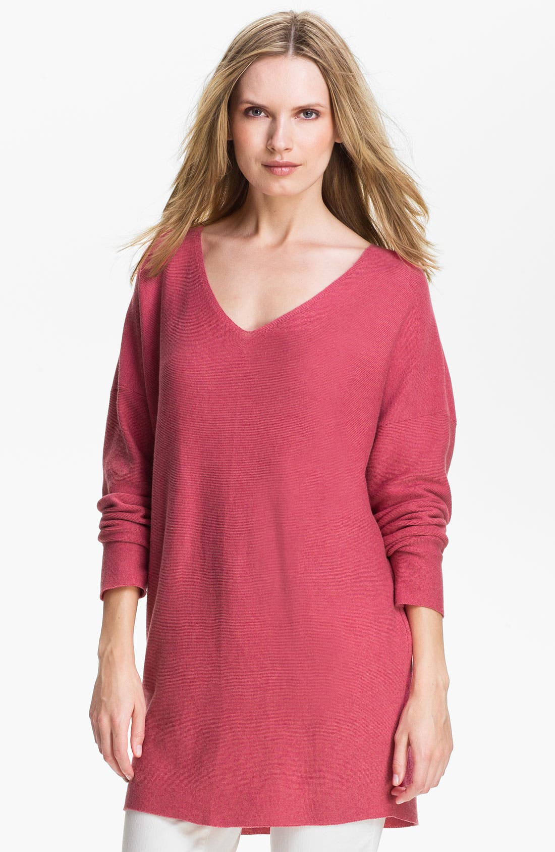 Alternate Image 1 Selected - Eileen Fisher V-Neck Tunic Sweater (Online Exclusive)