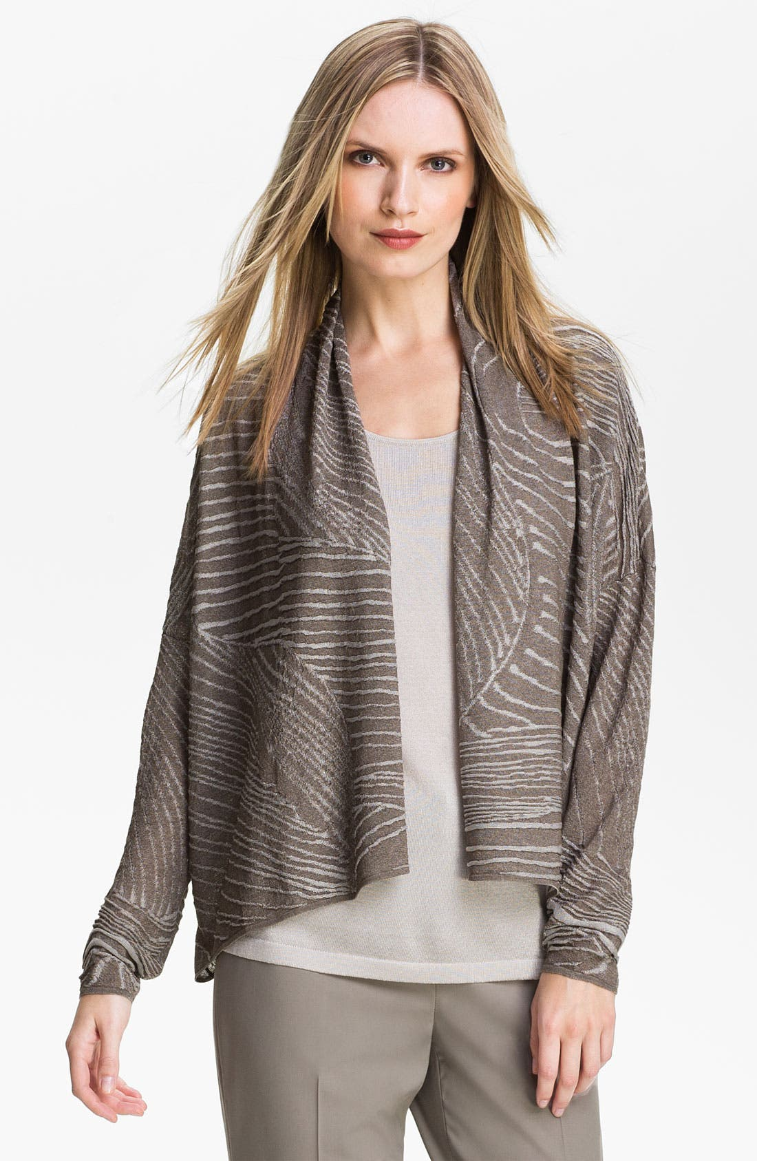 Alternate Image 1 Selected - Lafayette 148 New York Jacquard Drape Front Cardigan