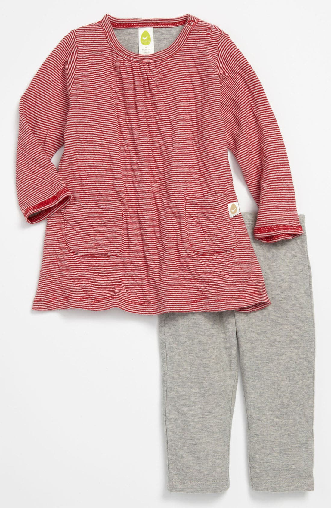 Alternate Image 1 Selected - Stem Baby Double Knit Organic Cotton Dress & Leggings (Infant)