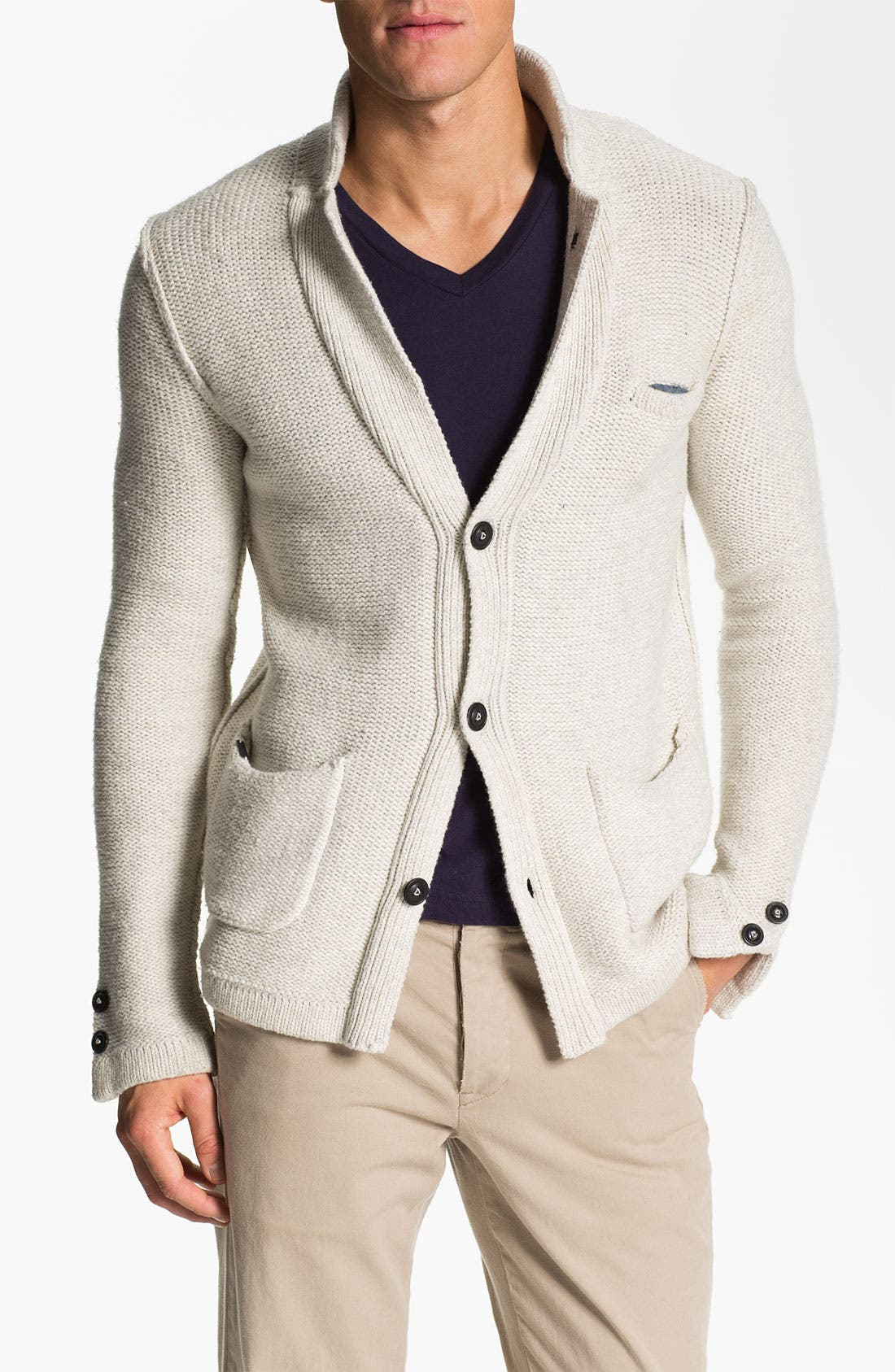 Alternate Image 1 Selected - J.C. Rags Reverse Knit Three Button Sweater Blazer