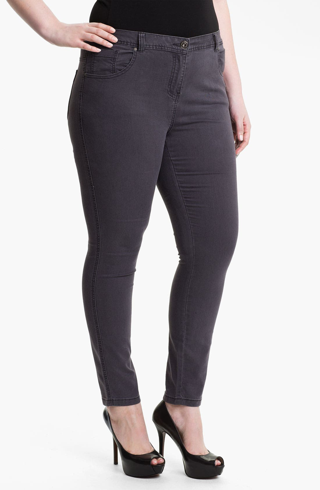 Alternate Image 1 Selected - Evans Straight Leg Slim Jeans (Plus Size)