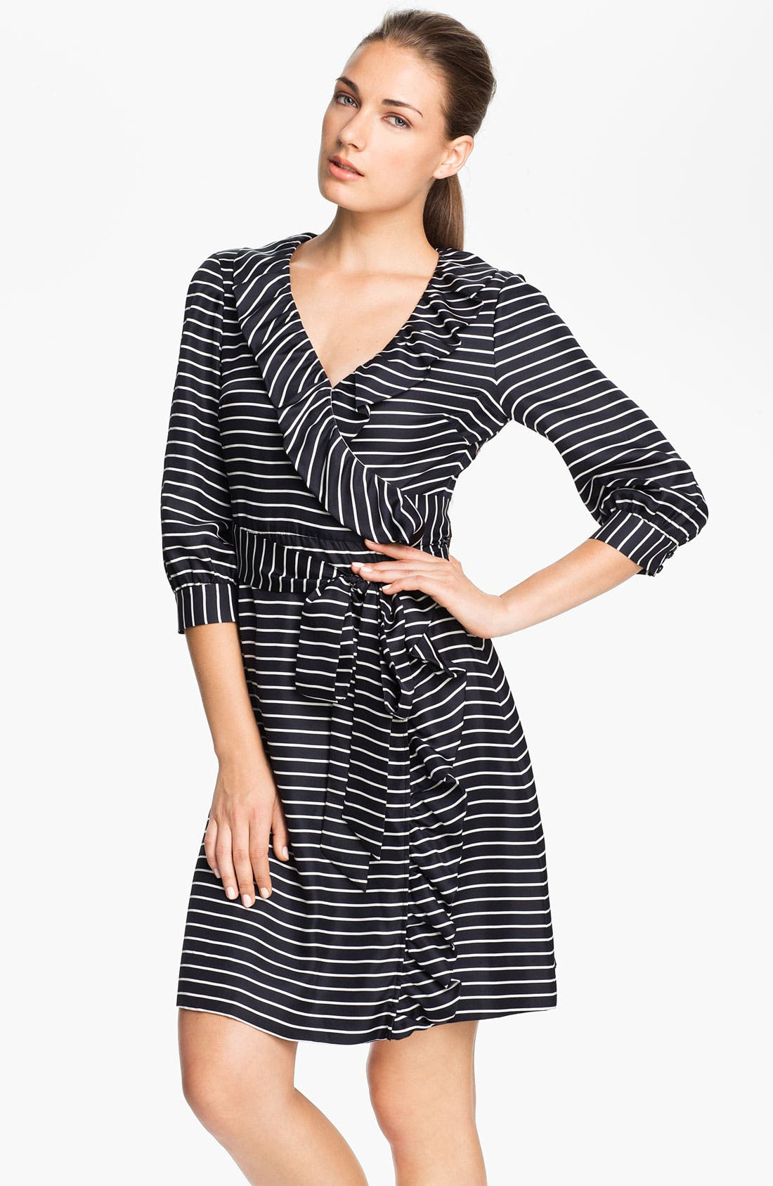 Alternate Image 1 Selected - kate spade new york 'daniella' stripe silk wrap dress