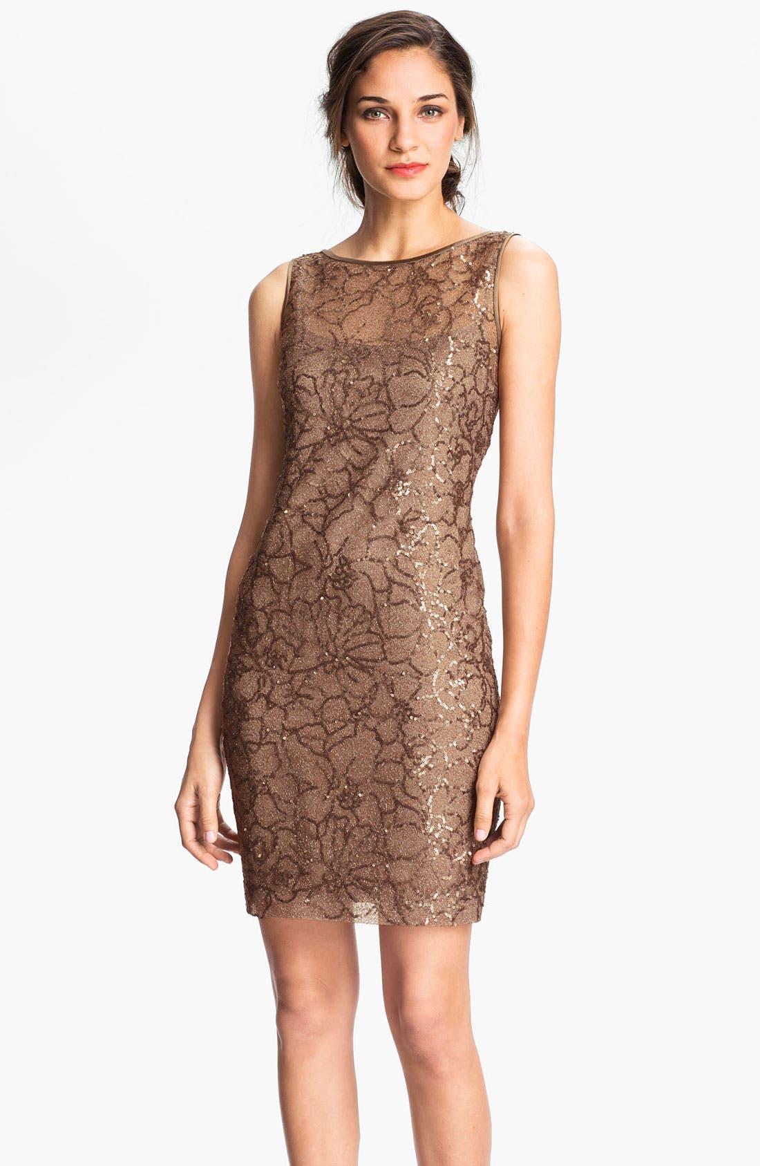 Main Image - Teri Jon V-Back Sequin Floral Sheath Dress