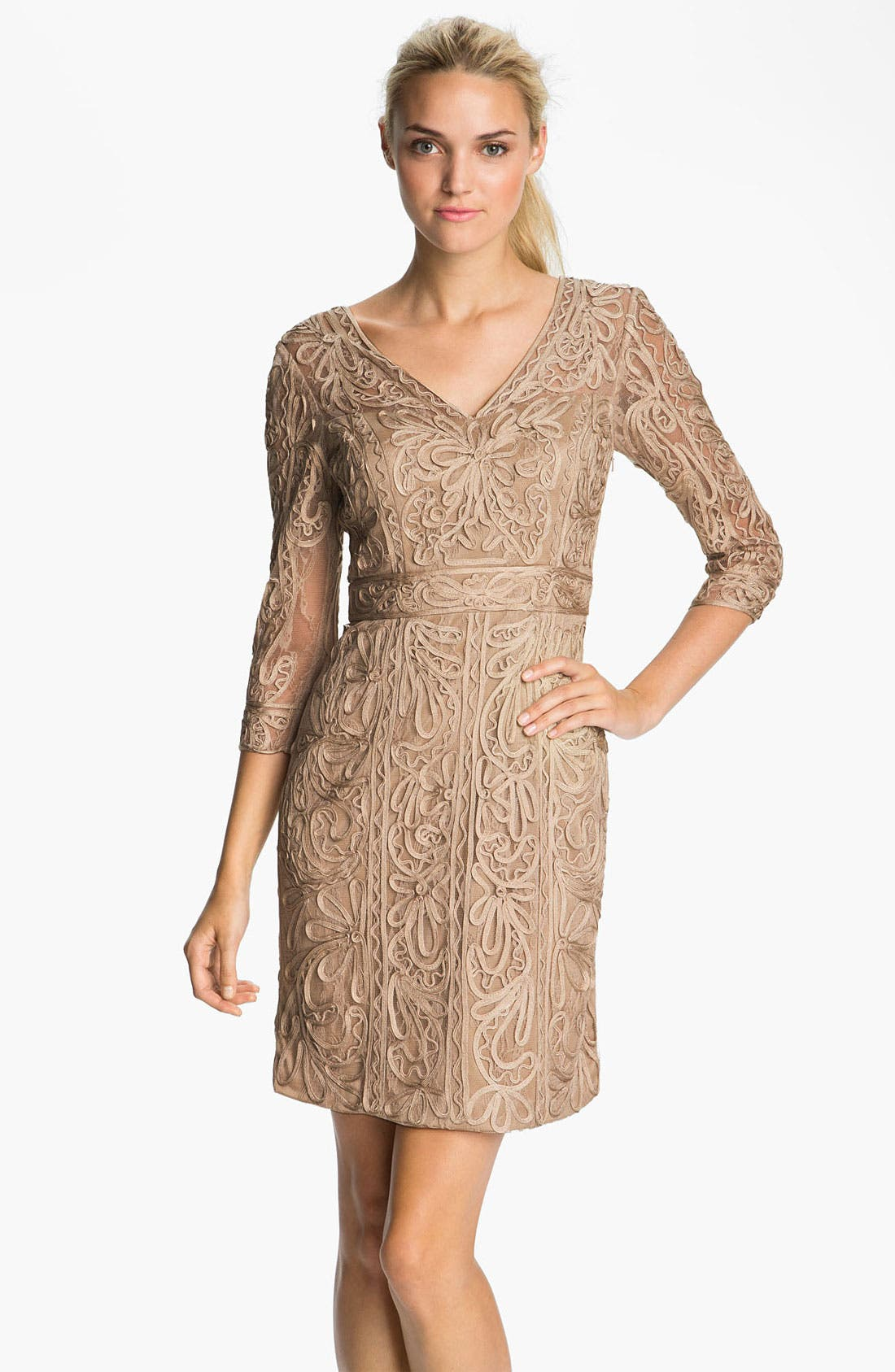Main Image - Sue Wong Double-V Embroidered Sheath Dress