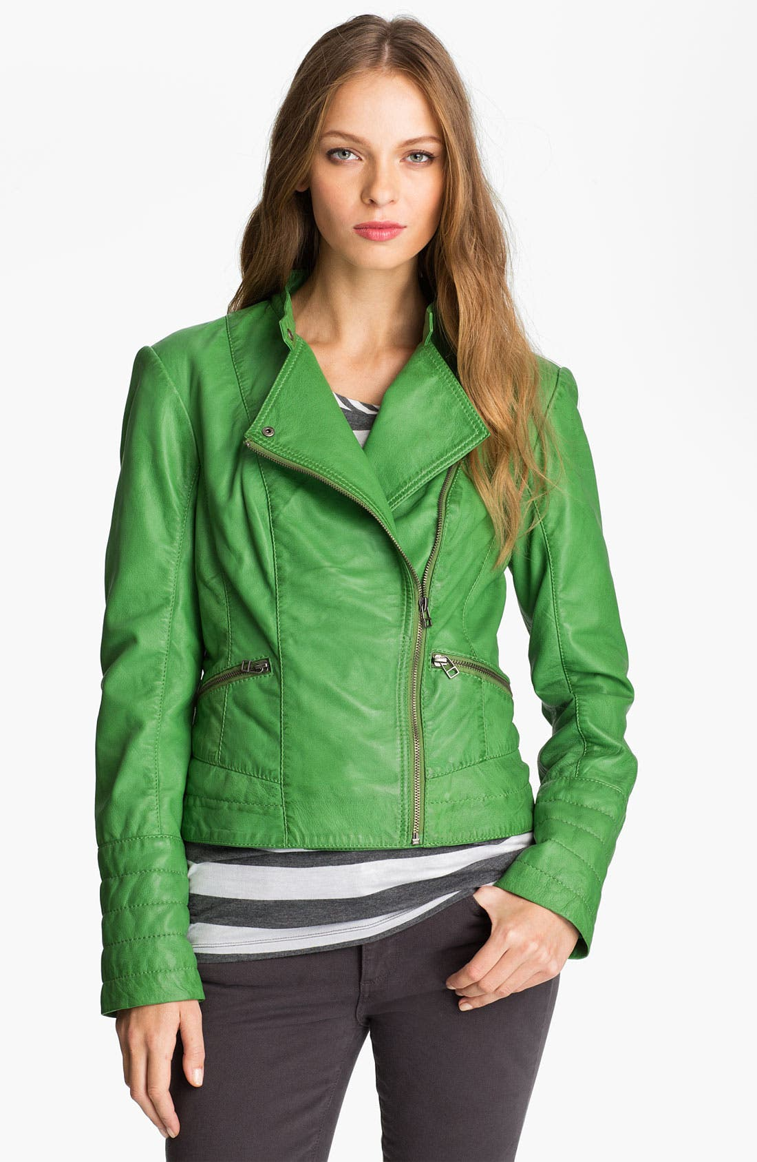 Alternate Image 1 Selected - Bernardo Leather Moto Jacket (Regular & Petite) (Nordstrom Exclusive)