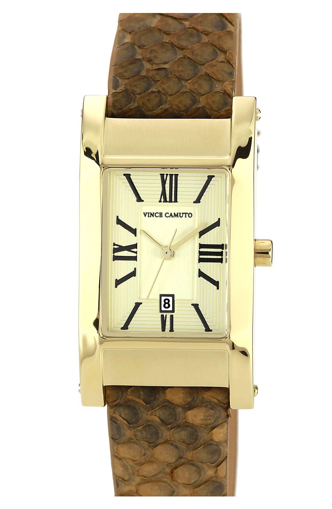 Main Image - Vince Camuto Genuine Python Strap Watch, 25mm x 45mm