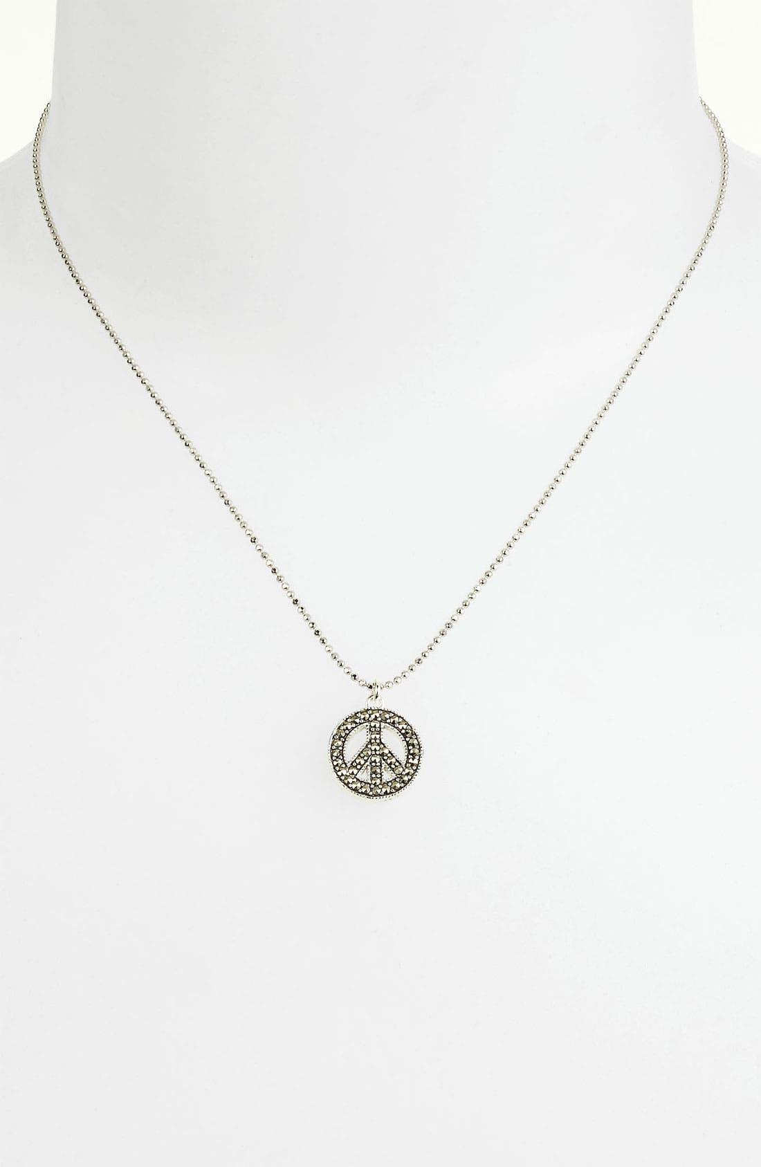 Alternate Image 1 Selected - Judith Jack Reversible Pavé Peace Sign Pendant Necklace