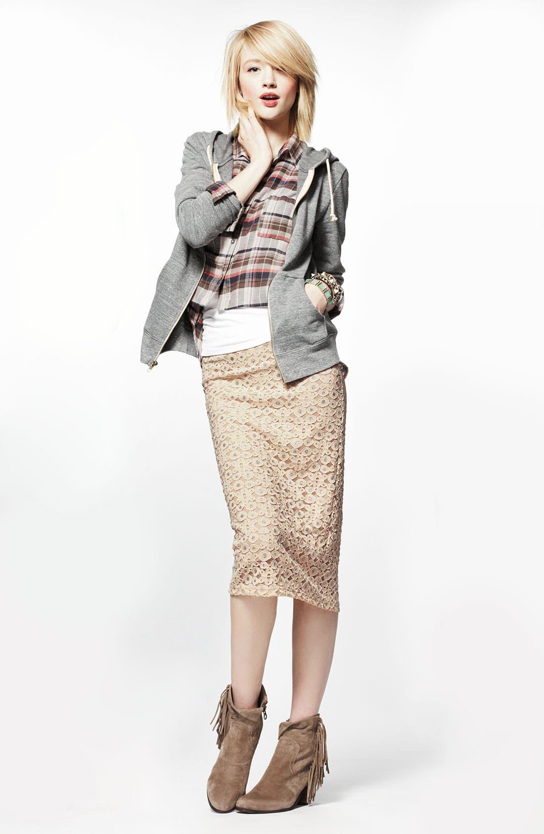 Main Image - h.i.p. Lace Midi Skirt (Juniors)