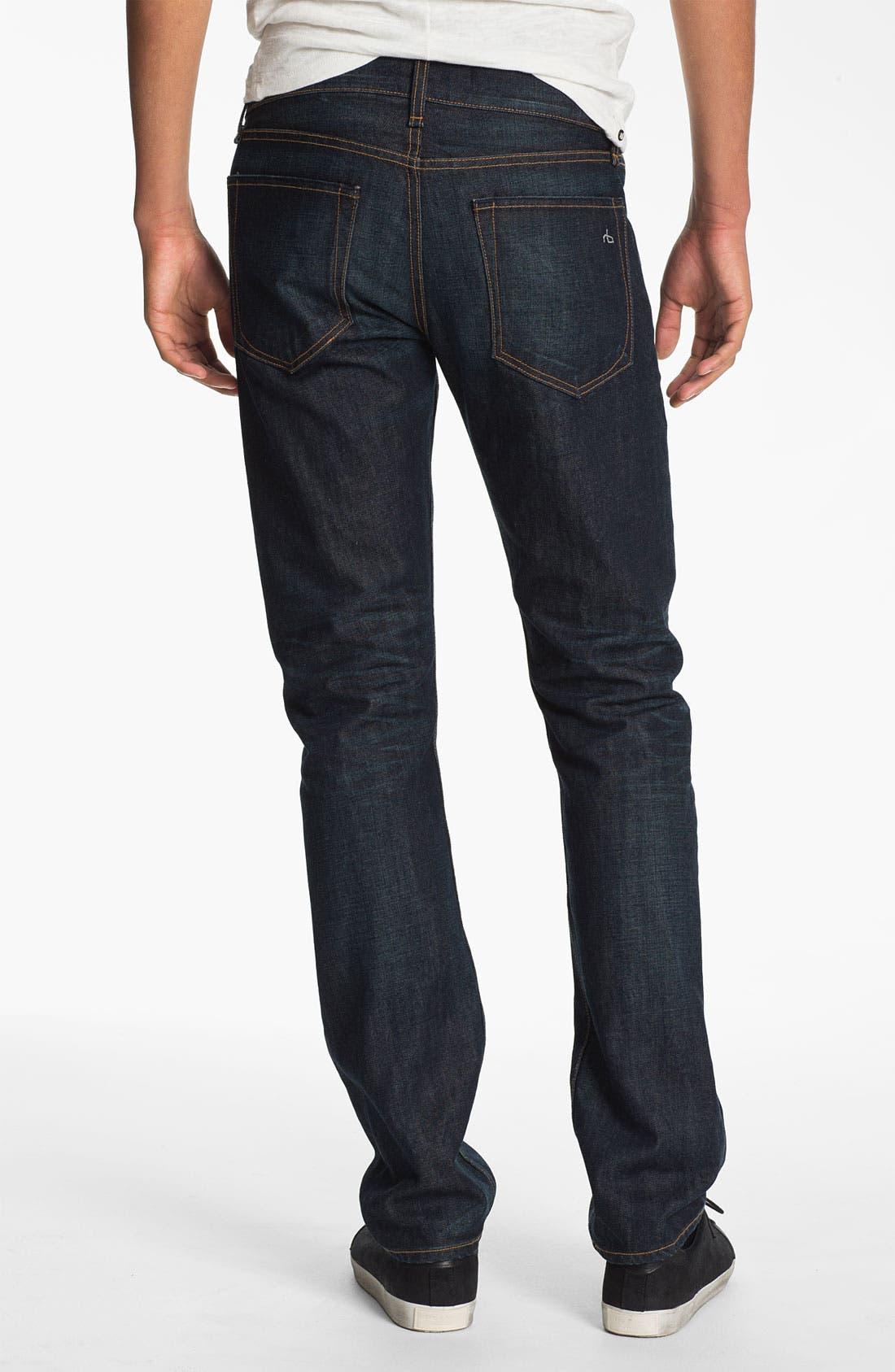 Alternate Image 2  - rag & bone 'RB19X' Slim Straight Leg Jeans (Dover Blue)