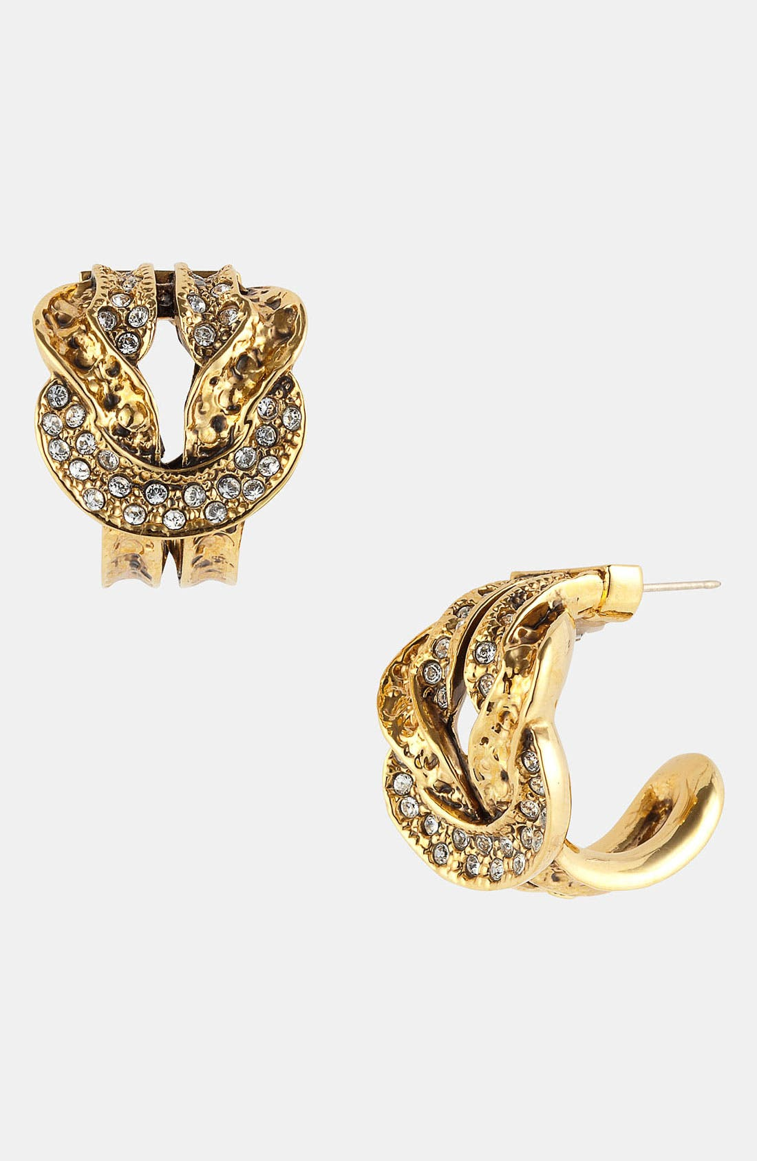 Main Image - St. John Collection Antique Gold Knot Hoop Earrings