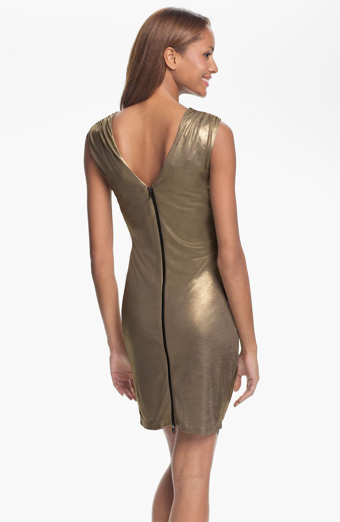 Alternate Image 2  - Marc New York by Andrew Marc Ruched Gold Jersey Sheath Dress