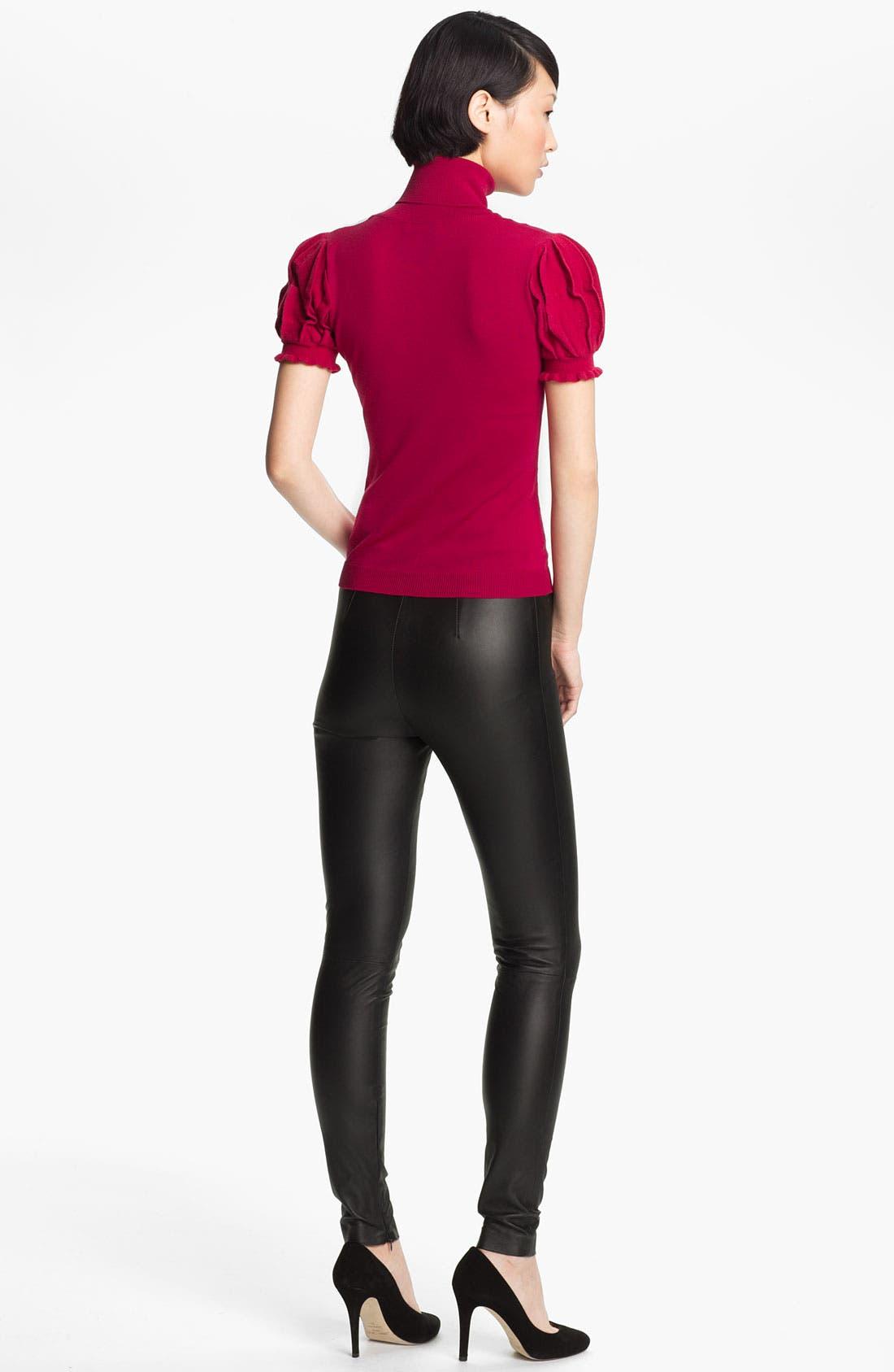 Alternate Image 2  - RED Valentino Pleated Sleeve Turtleneck