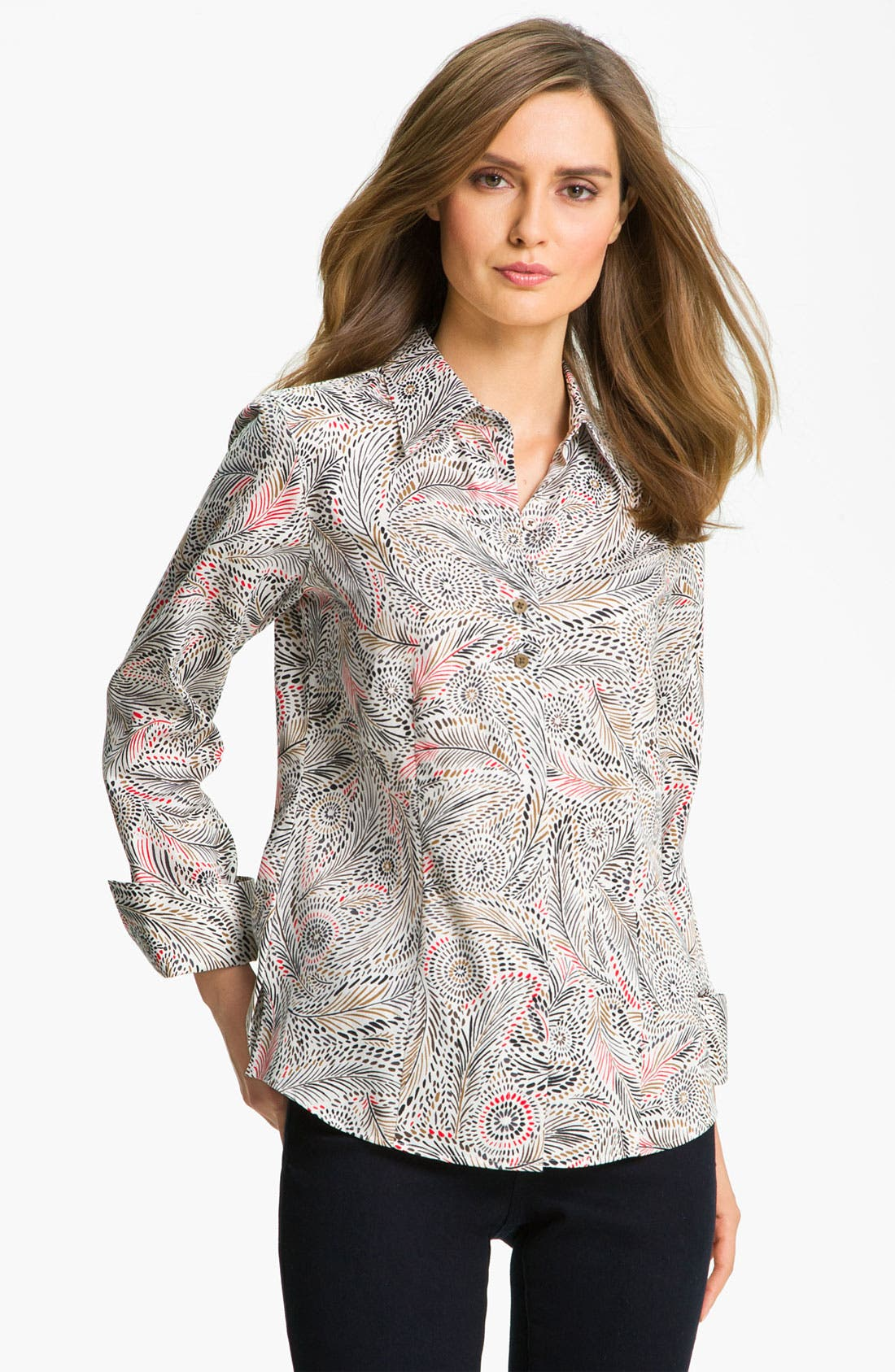 Alternate Image 1 Selected - Foxcroft Feather Print Shirt (Petite)