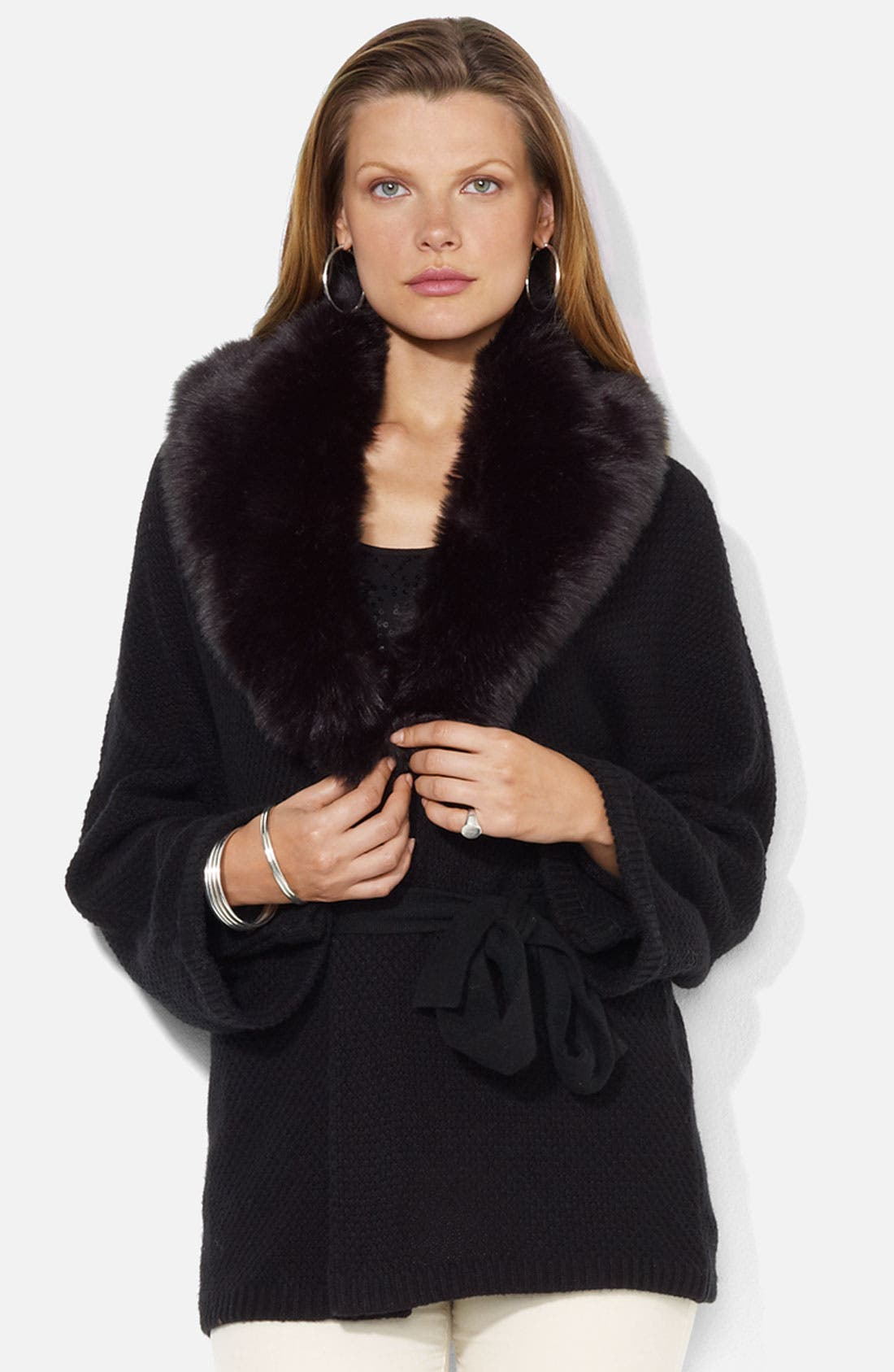 Main Image - Lauren Ralph Lauren Faux Fur Trim Wrap Cardigan