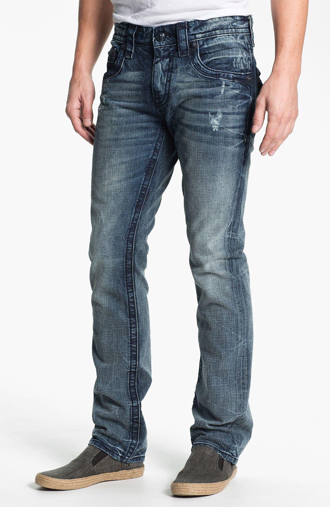Alternate Image 2  - Rock Revival 'Dain' Straight Leg Jeans (Light Blue)