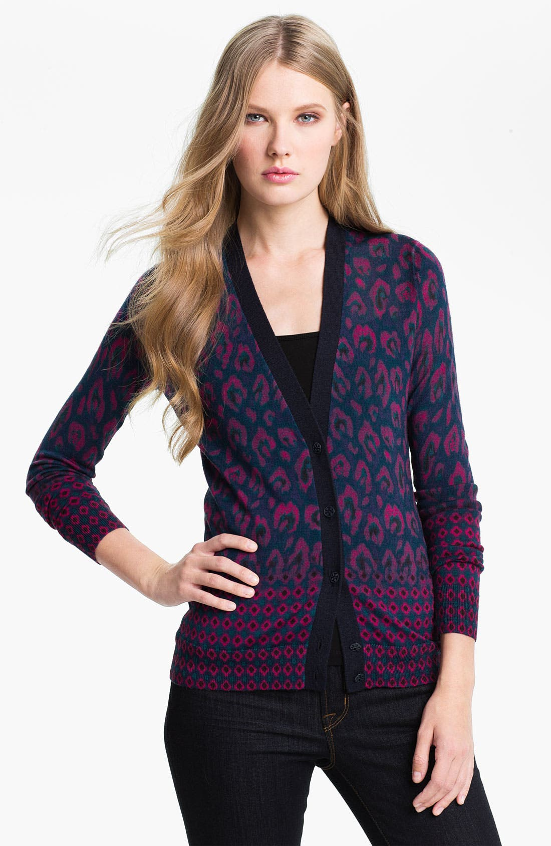 Alternate Image 1 Selected - Tory Burch 'Brady' Print Cardigan