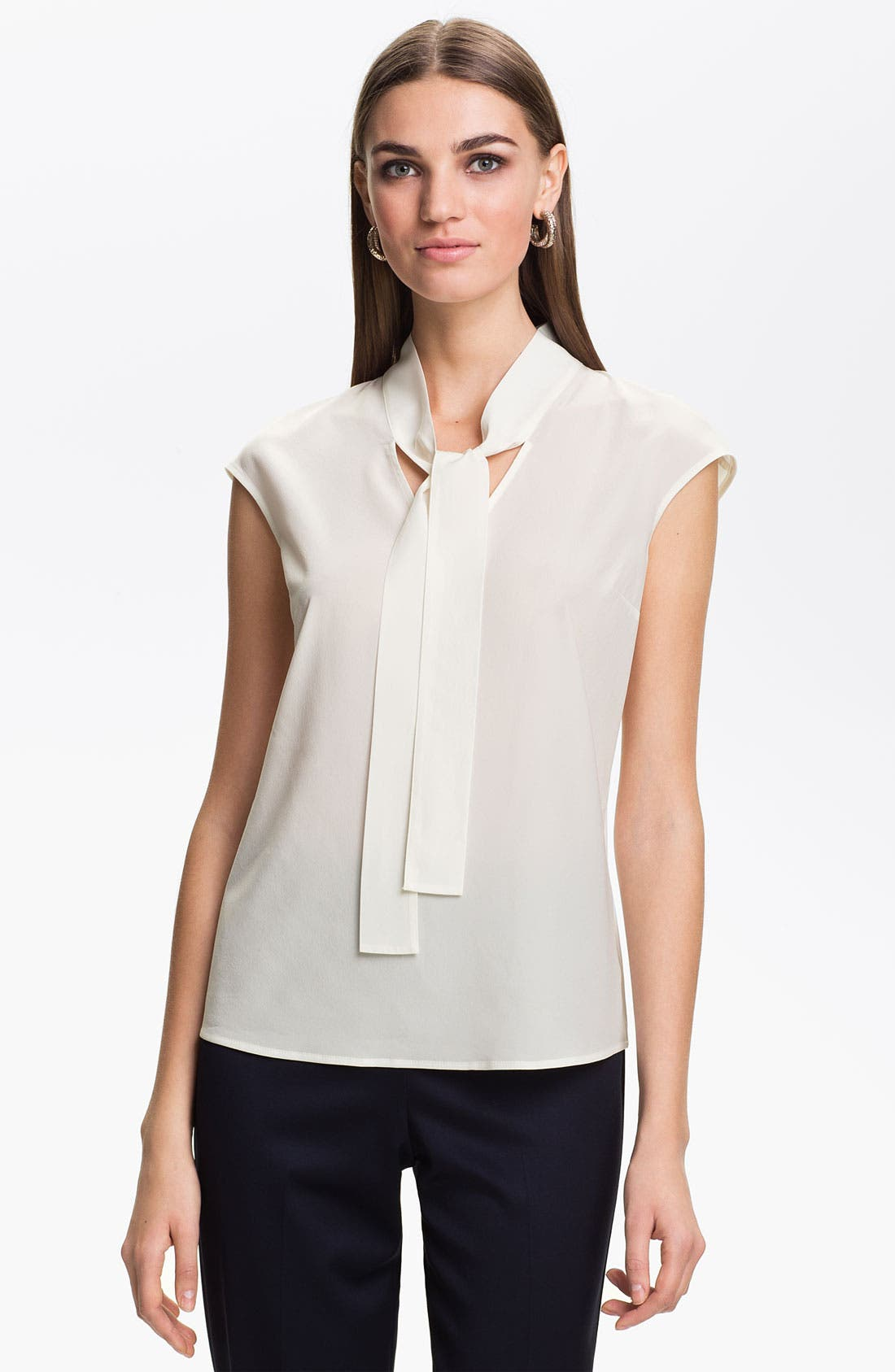 Alternate Image 1 Selected - St. John Collection Cap Sleeve Crepe Top