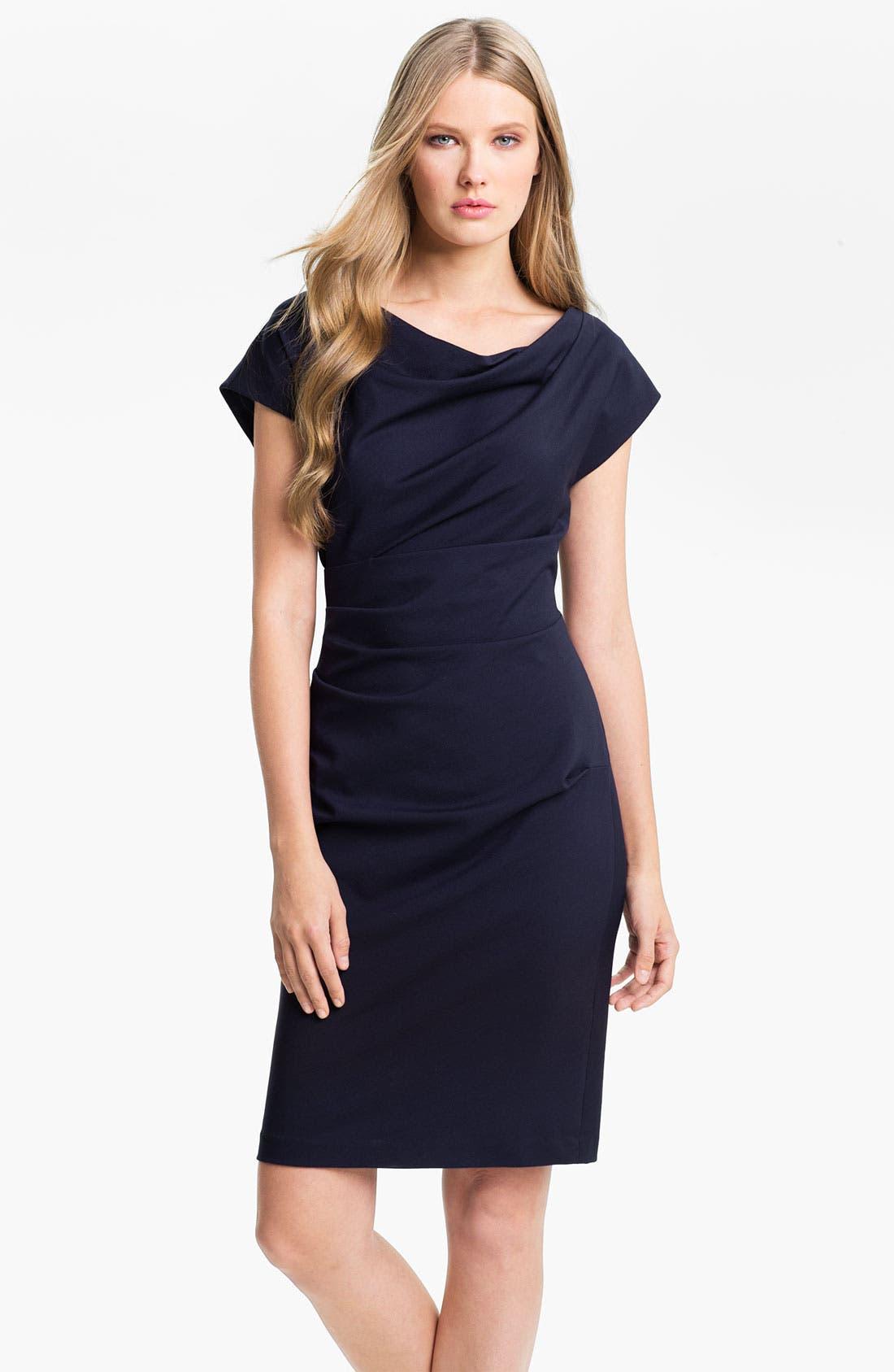 Alternate Image 1 Selected - Suzi Chin for Maggy Boutique Draped Neck Sheath Dress