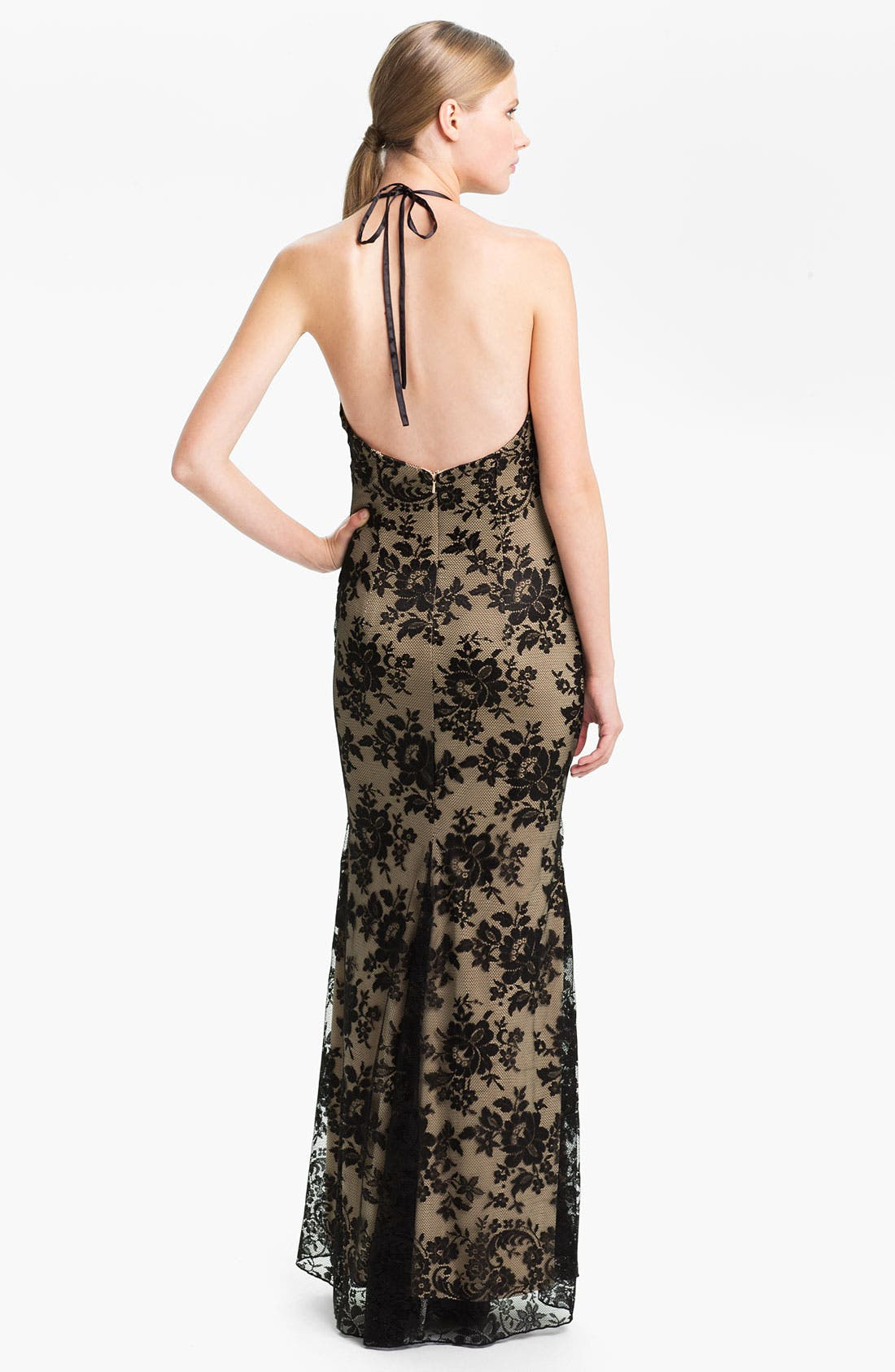 Alternate Image 2  - Jessica McClintock V-Neck Lace Halter Gown
