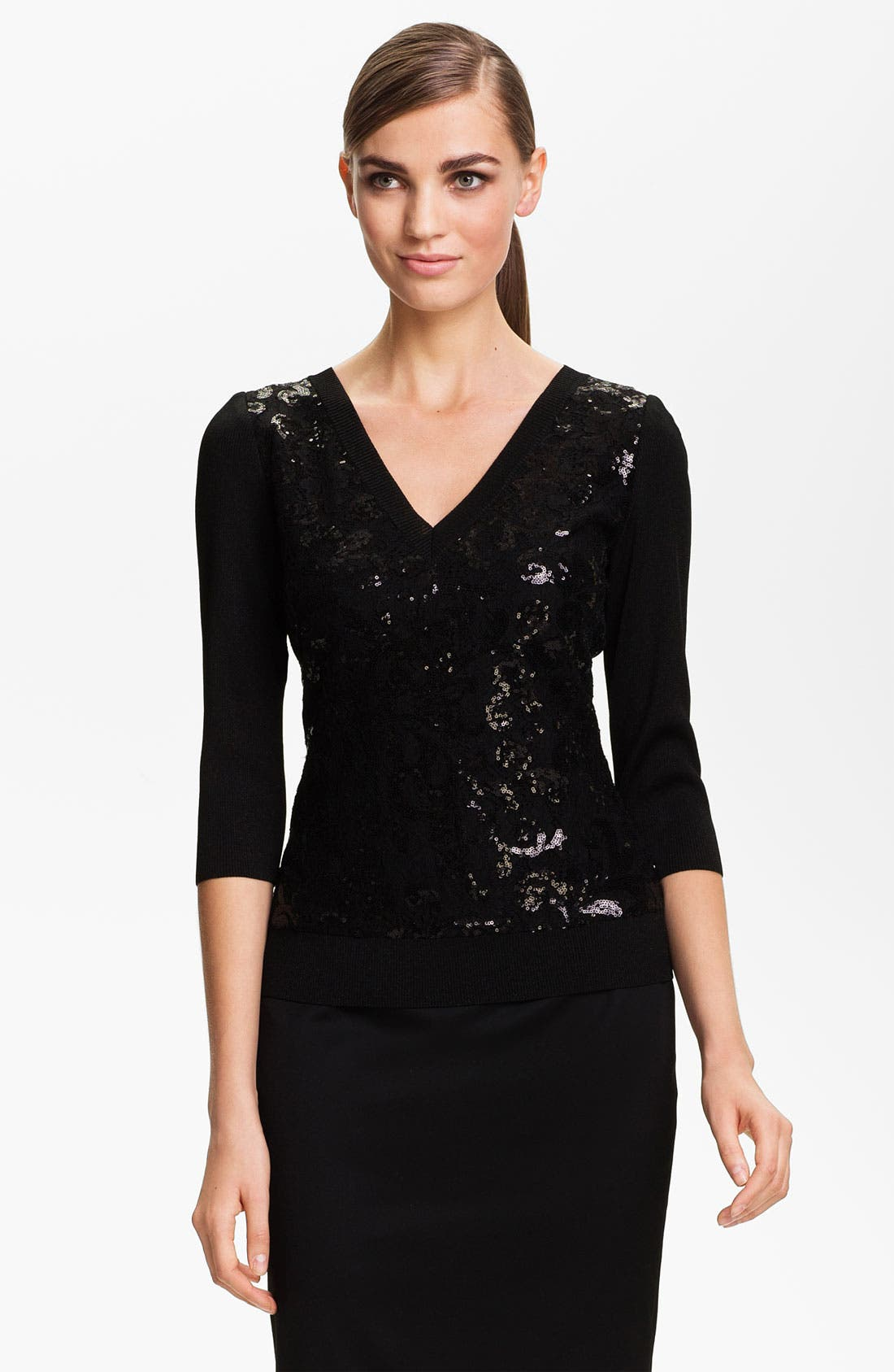 Main Image - St. John Collection Lace Front Shimmer Rib Knit Sweater