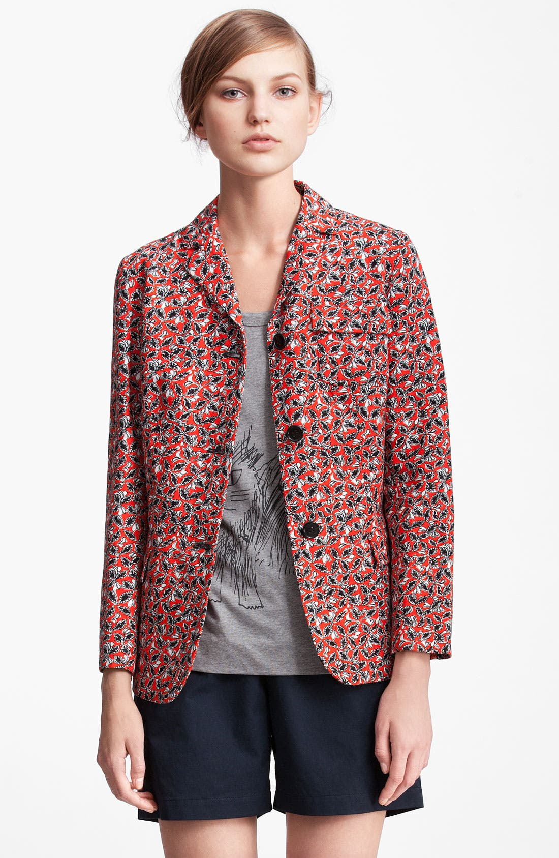 Alternate Image 1 Selected - Marni Edition Leaf Print Linen Blend Jacket