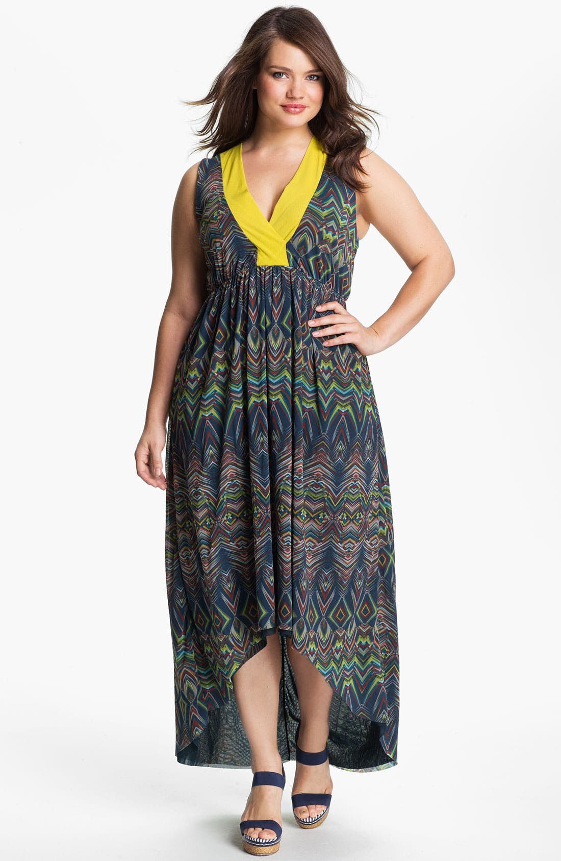 Main Image - Sweet Pea by Stacy Frati Sleeveless Asymmetrical Dress (Plus)