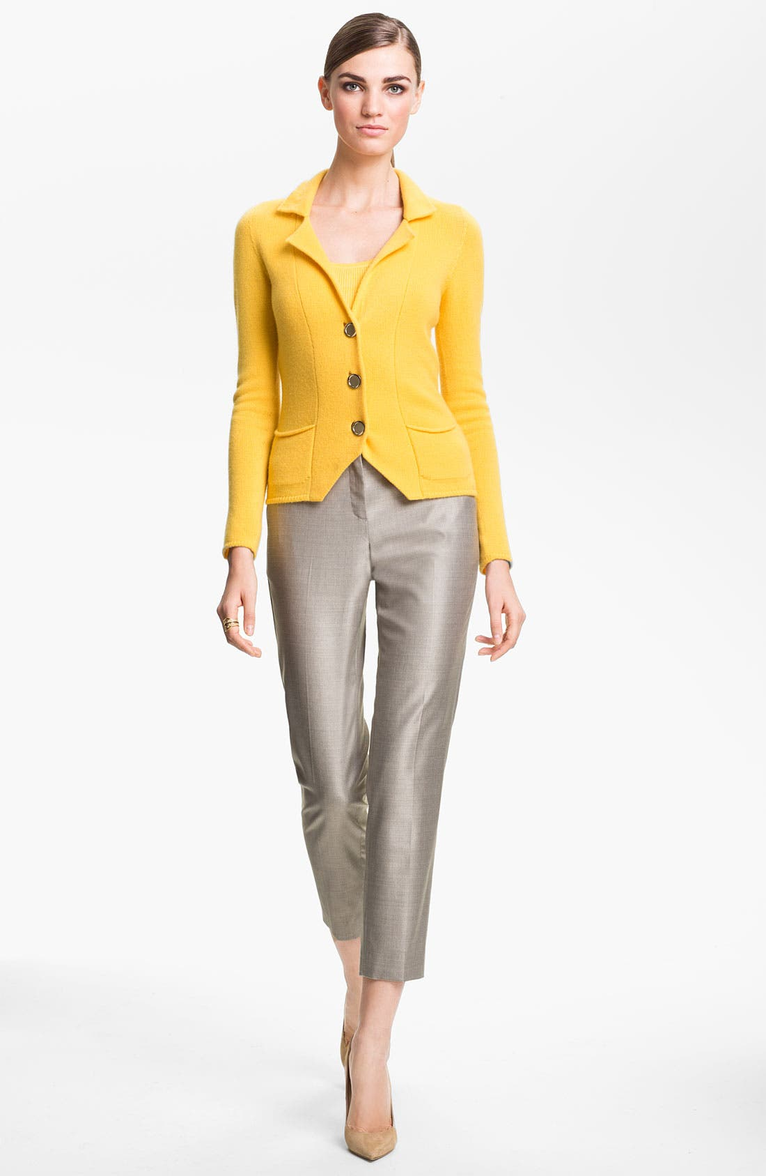 Alternate Image 2  - St. John Collection Fitted Cashmere Knit Jacket