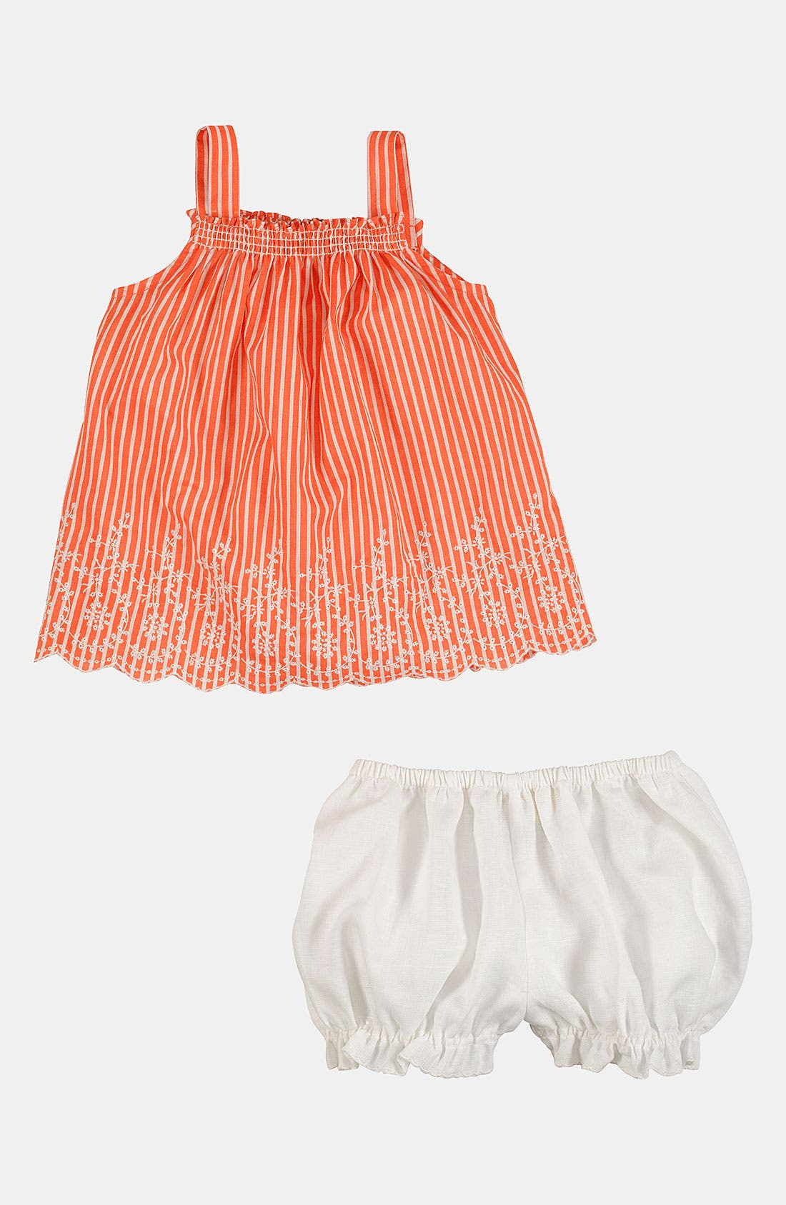 Alternate Image 2  - Ralph Lauren Embroidered Bengal Stripe Tank & Bloomers (Infant)