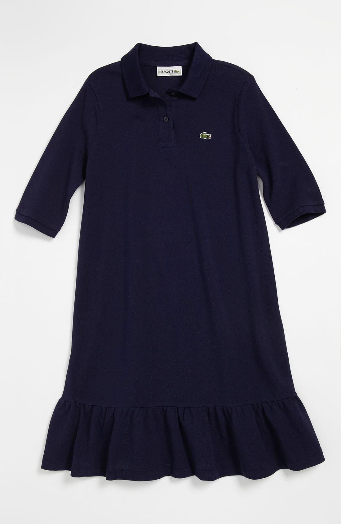 Main Image - Lacoste Ruffle Hem Polo Dress (Little Girls & Big Girls)