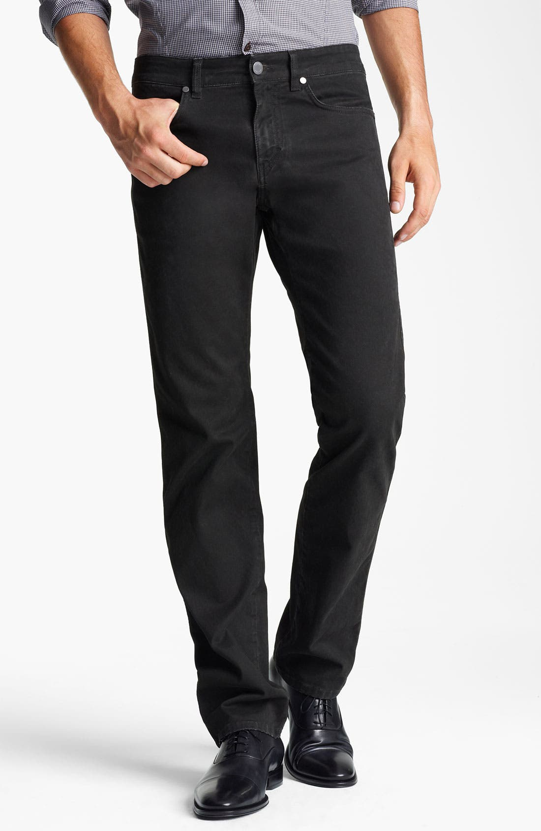 Alternate Image 1 Selected - Z Zegna Straight Leg Jeans (Coated Black)