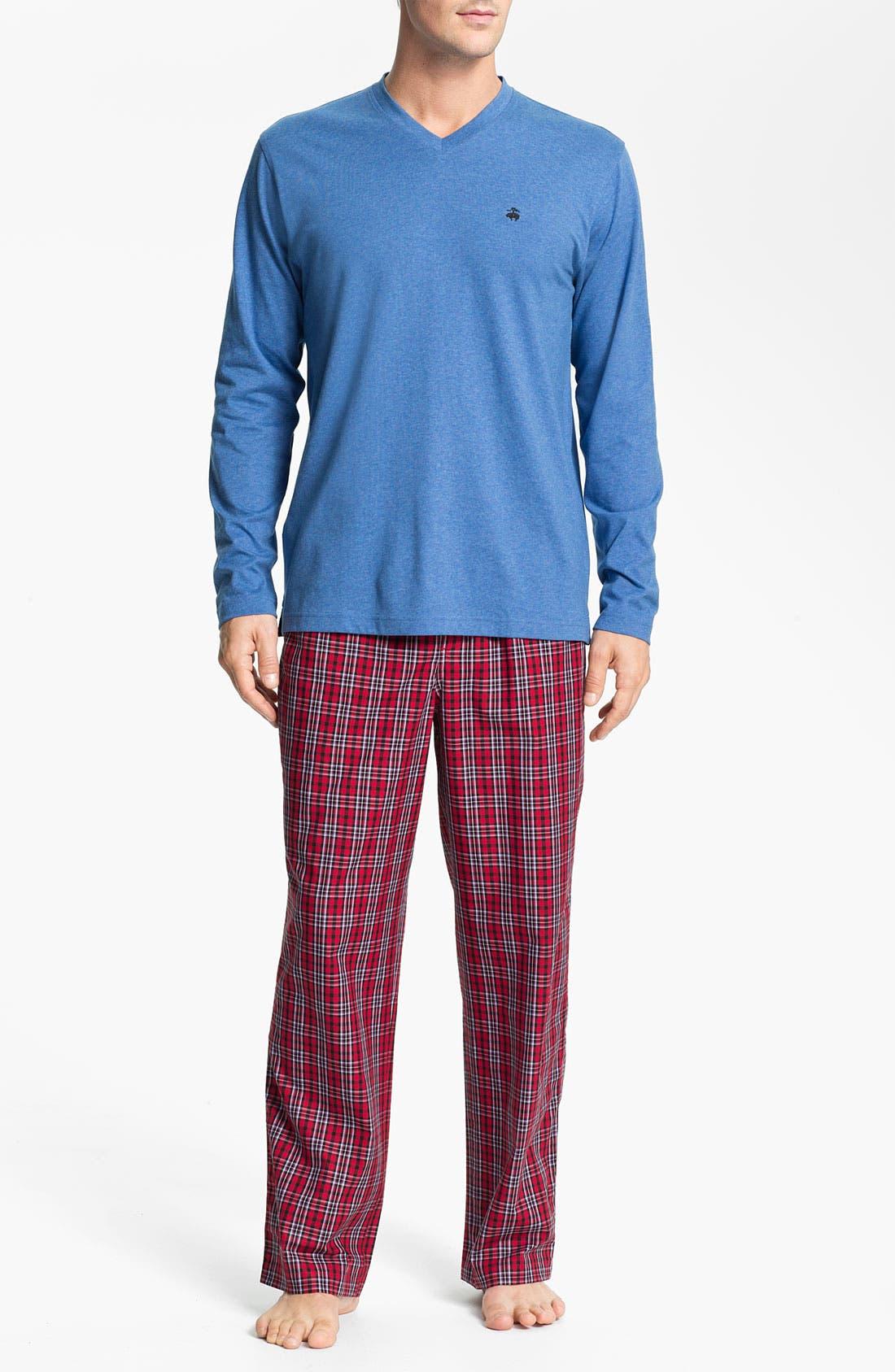 Alternate Image 1 Selected - Brooks Brothers Cotton Pajama Set