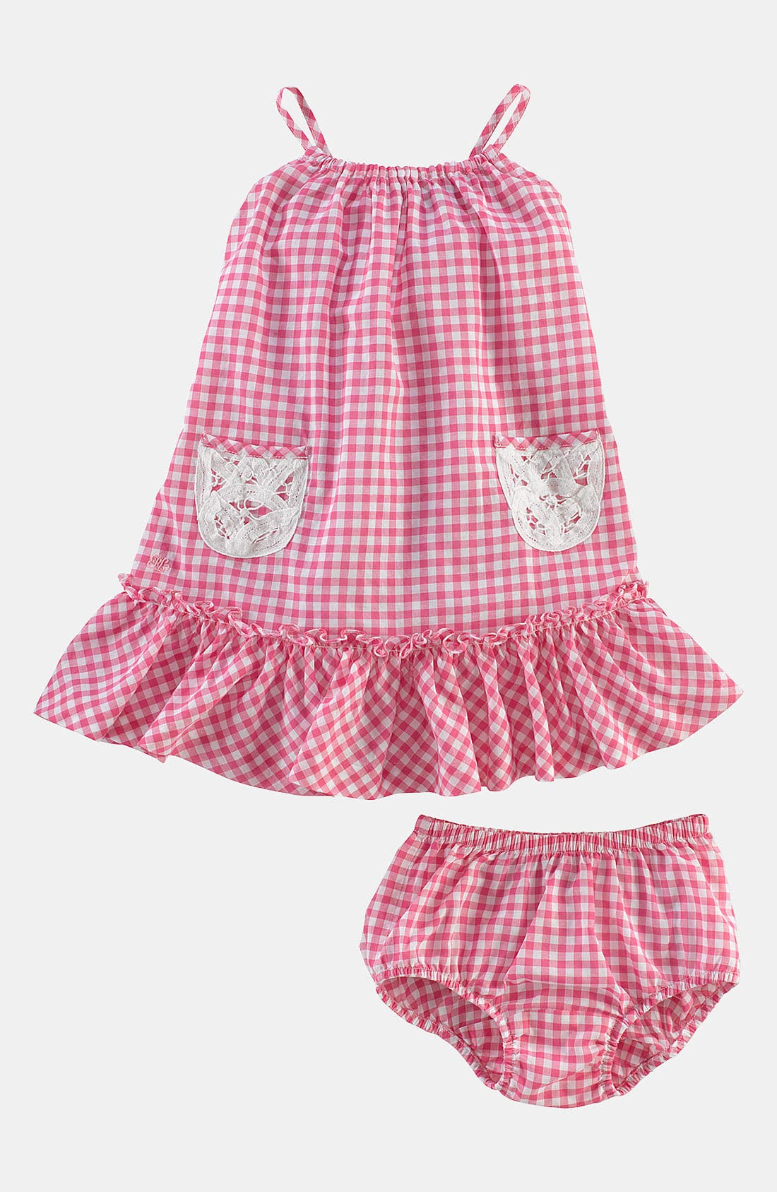 Alternate Image 2  - Ralph Lauren Gingham Dress & Bloomers (Infant)