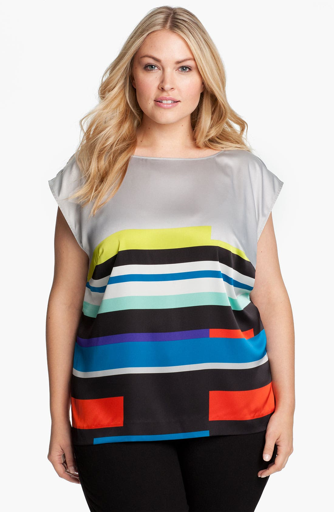 Alternate Image 1 Selected - Vince Camuto 'Graphic Lines' Blouse (Plus)