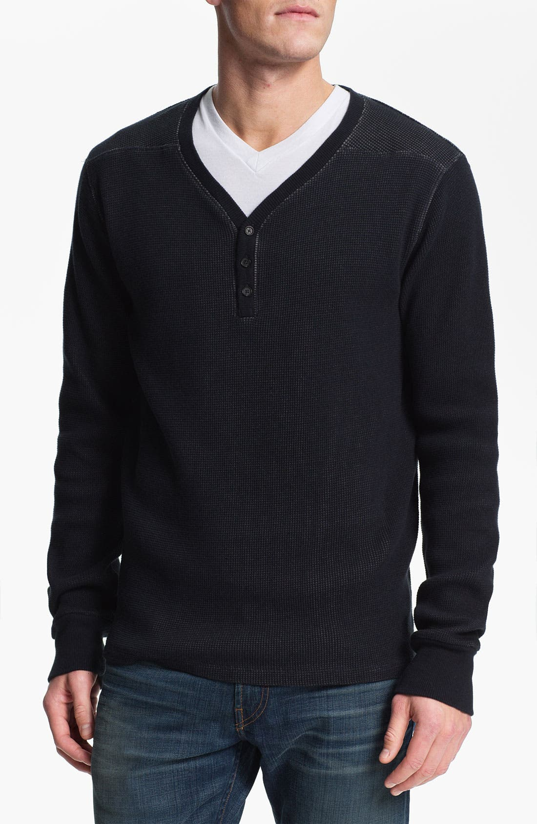 Alternate Image 1 Selected - 7 For All Mankind® V-Neck Plaited Cotton Thermal Henley