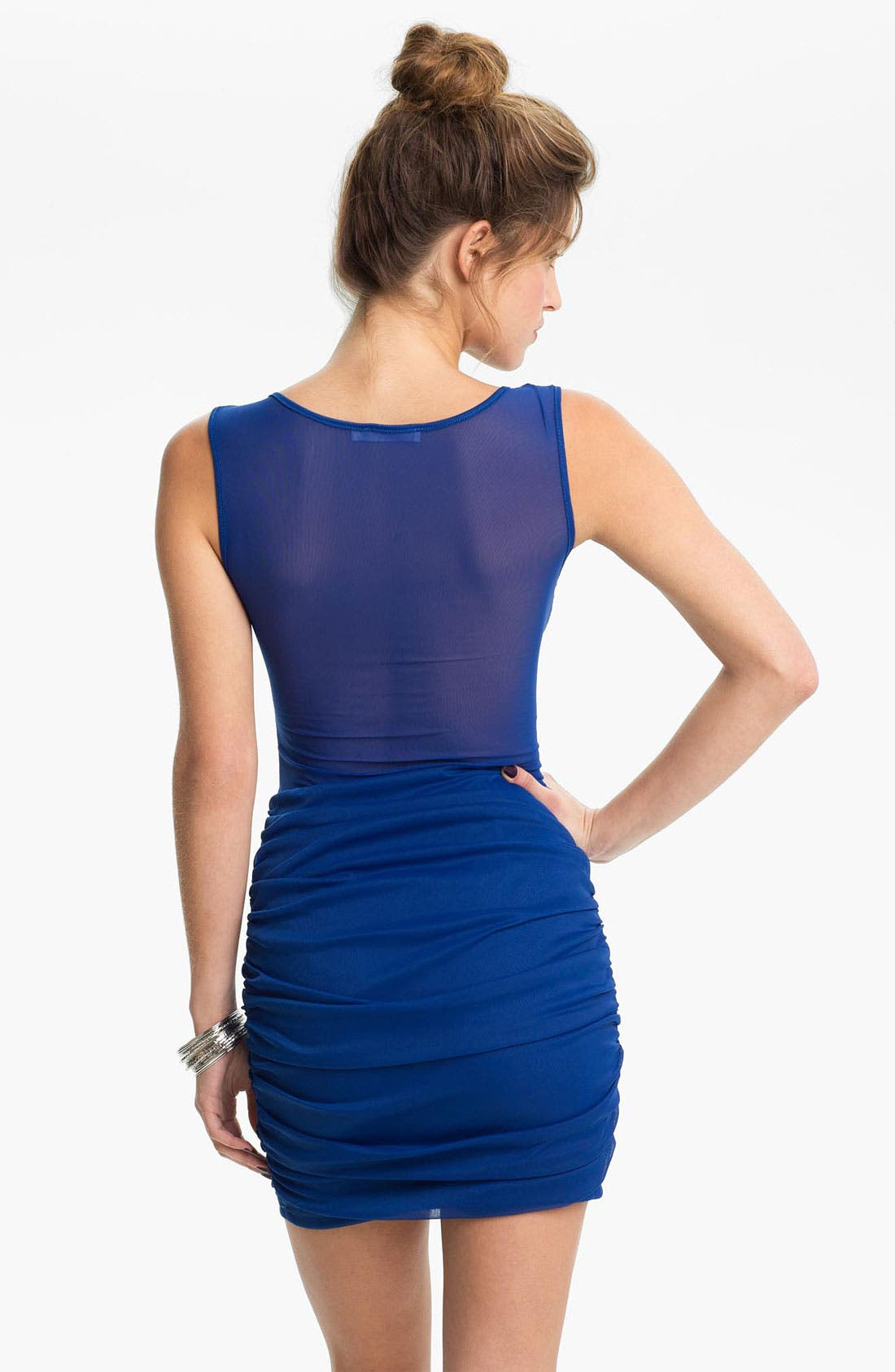 Alternate Image 2  - Lush Mesh Panel Body-Con Dress (Juniors)