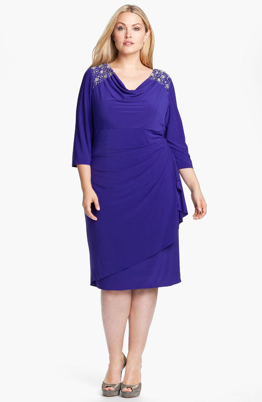 Alternate Image 1 Selected - Alex Evenings Jeweled Faux Wrap Matte Jersey Dress (Plus)