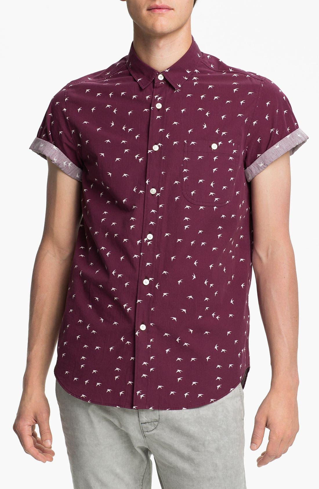 Alternate Image 1 Selected - Topman Swallow Print Woven Shirt